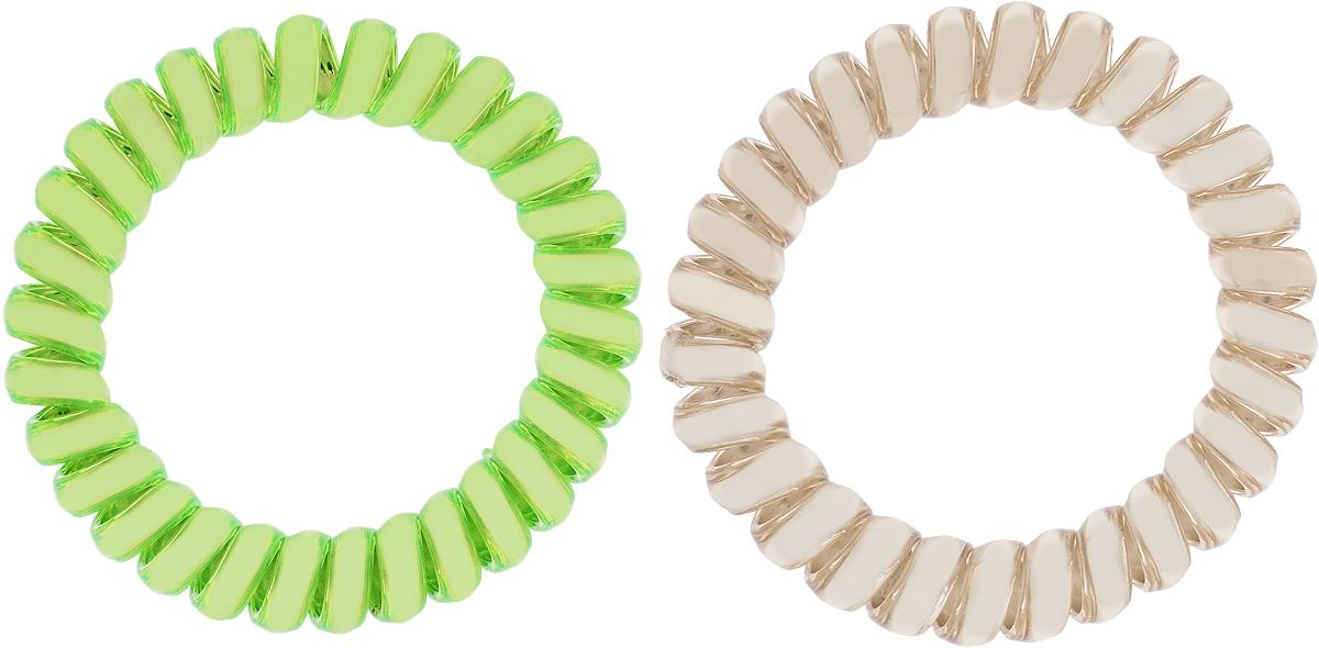Babys Joy Резинка для волос цвет зеленый золотой 2 шт VT 436MP59.4DРезинка для волос Babys Joy выполнена в виде эластичной спирали из пластика металлического цвета. Резинка крепко и надежно фиксирует волосы, не оставляет следов после снятия. Хорошо скользит по волосам, не вызывая ломкости, разрывов и сечения. Такая резинка прекрасно растягивается, при этом не рвется. За счет своей спиральной формы мягко распределяет давление по волосам. Резинка для волос Babys Joy подчеркнет уникальность вашей маленькой модницы и станет прекрасным дополнением к ее неповторимому стилю.