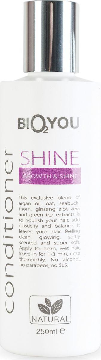 BIO2You Kондиционер Shine для блеска и роста волос, 250 млFS-00103Нежный кондиционер с аргановым маслом, овсянкой, облепихой, женьшенeм, алоэ вера и экстрактoм зеленого чая питаeт волосы, пpидает волосам блеск и ощущение чистоты, делает волосы мягкими и шелковистыми. Нанести на чистые, влажные волосы, через 1-3 минут тщательно промыть. Не содержит спирта, парабенов и SLS.
