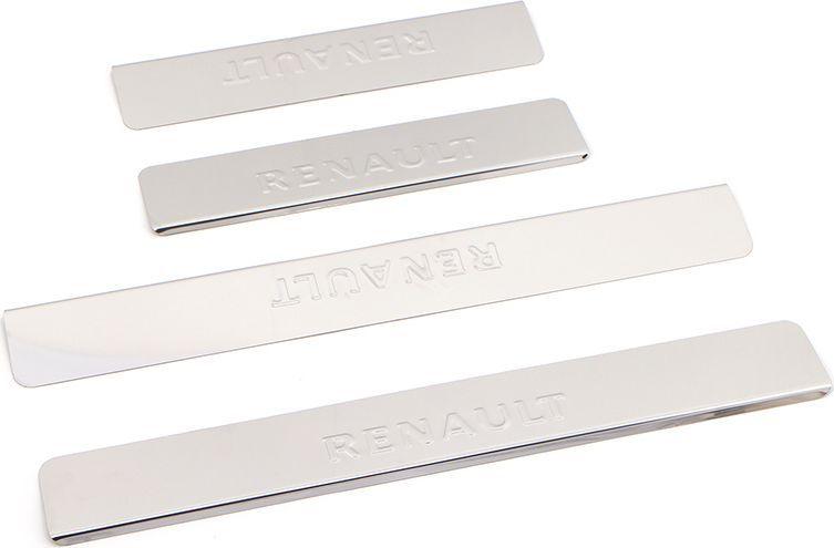 Накладки внутренних порогов DolleX, для RENAULT Logan (2014->), 4 шт5104Придают автомобилю стильный и неповторимый вид, эффективно защищают пороги от повреждения лакокрасочного покрытия.Отличительные особенности:- Полированная нержавеющая сталь- Толщина стали 0,5 мм.- Стильный внешний вид- Легкая и быстрая установка- Крепление лента липкая двухсторонняяКомплект:размер 450х61мм - 2штразмер 300х61мм - 2шт