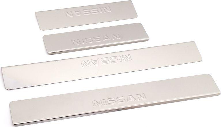 Накладки внутренних порогов DolleX, для NISSAN X-Trail 3 (2014->), 4 шт98298130Придают автомобилю стильный и неповторимый вид, эффективно защищают пороги от повреждения лакокрасочного покрытия.Отличительные особенности:- Полированная нержавеющая сталь- Толщина стали 0,5 мм.- Стильный внешний вид- Легкая и быстрая установка- Крепление лента липкая двухсторонняяКомплект:размер 500х70мм - 2штразмер 270х70мм - 2шт
