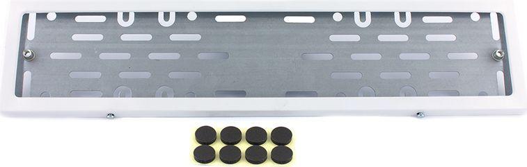 Рамка номерного знака DolleX, с адаптером в сборе, цвет: белый. SPL-24CA-3505Толщина стали 0,5 мм;Прочное полимерное покрытие;Антивандальная и долговечная; Адаптирована под номерной знак РФ; Адаптер из оцинкованной стали с виброизоляторами в комплекте.