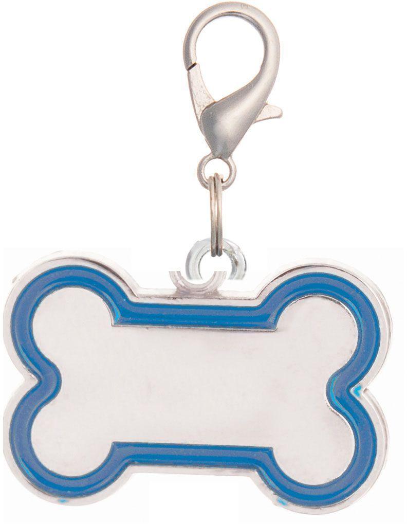 Адресник V.I.Pet Кость, 30 х 16 мм, цвет: синий, гравировка0120710Предназначено для животных в виде украшения. Адресник - прекрасное дополнение к внешнему виду животного. Плюс это способ идентификации: На обратную сторону наносится (гравируется) имя питомца, телефон владельца. Крепится к ошейнику, шлейке, поводку и т.д.