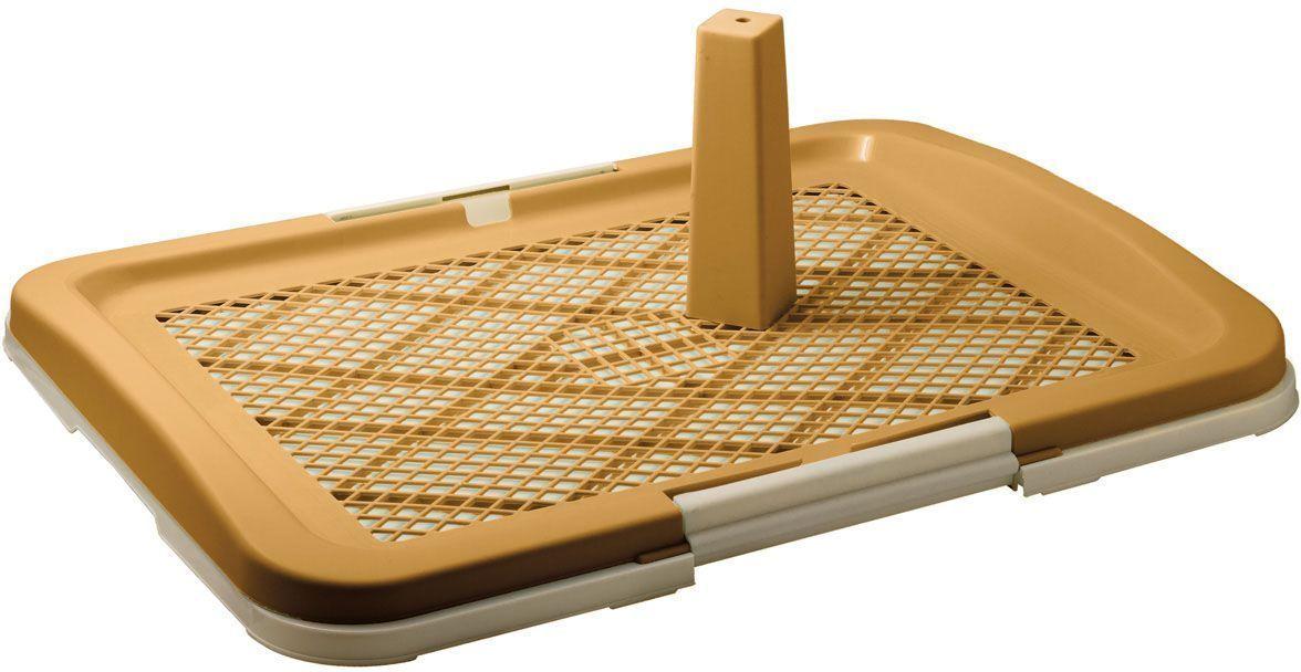 Туалет V.I.Pet, для собак, со столбиком, 63 х 49 х 6 см, цвет: бежевый0120710Туалет предназначен для собак и щенков. Съемный столбик легко крепится на решетку и позволяет применять туалет независимо от пола собаки. Гигиеническая пеленка помещается под решетку, удерживаемую боковыми фиксаторами. Решетка защищает пеленку от погрызов. Туалет легко моется водой.