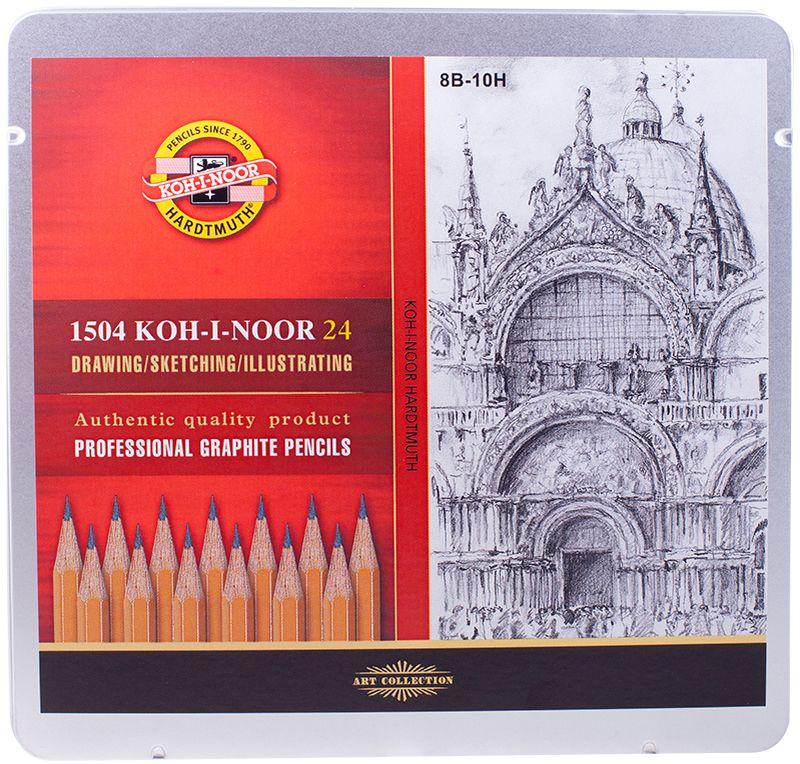 Koh-I-Noor Набор чернографитных карандашей 24 штPP-001Карандаш Koh-I-Noor с обозначением 1500 — это самый известный графитный карандаш в мире. Профессиональные высококачественные чернографитные карандаши 1500 подходят для чертежных и оформительских работ. Твердость грифеля – 8В-10Н.