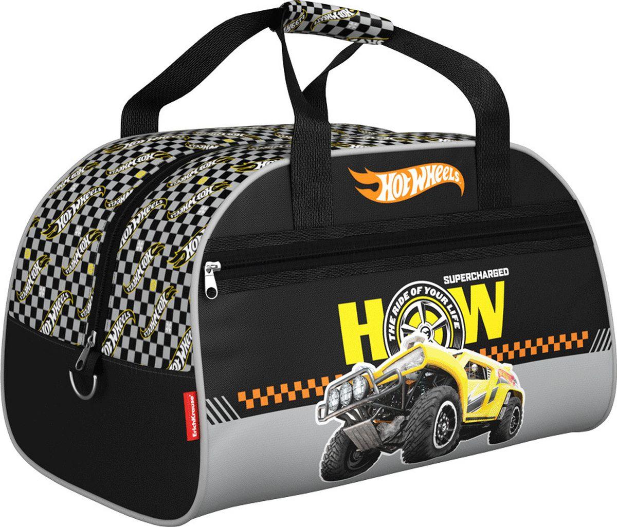 Mattel Сумка для сменной обуви Hot Wheels Big Foot 4243072523WDДетская сумка предназначена для спортивных вещей. Размер 35 x 26 x 23 см. Выполнена из водонепроницаемого материала. Ручки на липучке, снаружи имеется карман на молнии.