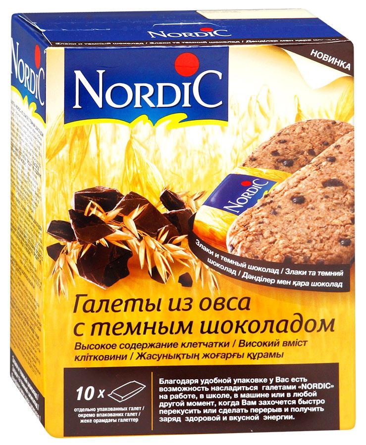 Nordic галета из овса с темным шоколадом, 300 г0120710Вкусный полезный перекус, традиционный овсяный продукт (печенье из овса) по особой здоровой, полезной, финской рецептуре Не очень сладкий продукт, не содержит молока и яиц. Удобная упаковка и все преимущества цельного зерна и овсяной каши в одной галете.
