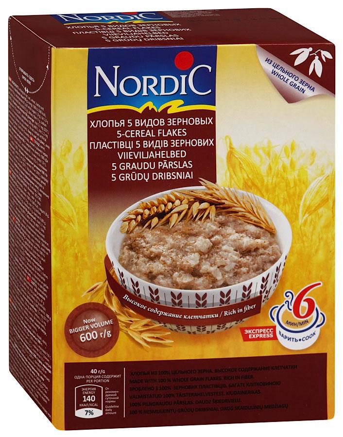 """В новом продукте Nordic """"5видов зерновых"""" финские подобрано максимально полезное ивкусное сочетание злаков : овес, пшеница, ячмень, рожь игречка. Nordic """"5видов зерновых"""", хорошо подходит как для завтрака, так ивкачестве гарнира наобед или ужин."""