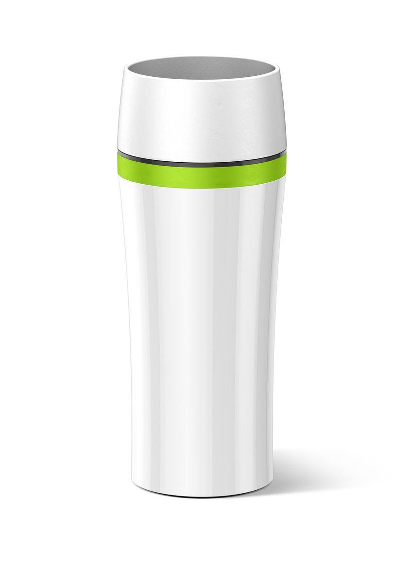 Термокружка Emsa Travel Mug Fun, цвет: белый, зеленый, 360 млVT-1520(SR)Термокружка Emsa Travel Mug Fun - это идеальный попутчик в дороге - не важно, по пути ли на работу, в школу или во время похода по магазинам. Вакуумная кружка на 100 % герметична. Корпус выполнен из высококачественного пластика и имеет 2 стенки, благодаря чему температура жидкости сохраняется долгое время. Термокружка открывается нажатием кнопки, можно пить из нее с любой стороны. Пробка разбирается и превосходно моется. Дно кружки выполнено из силикона, что препятствует скольжению.Диаметр кружки по верхнему краю: 7,5 см.Диаметр дна кружки: 7 см.Высота кружки: 20,5 см.