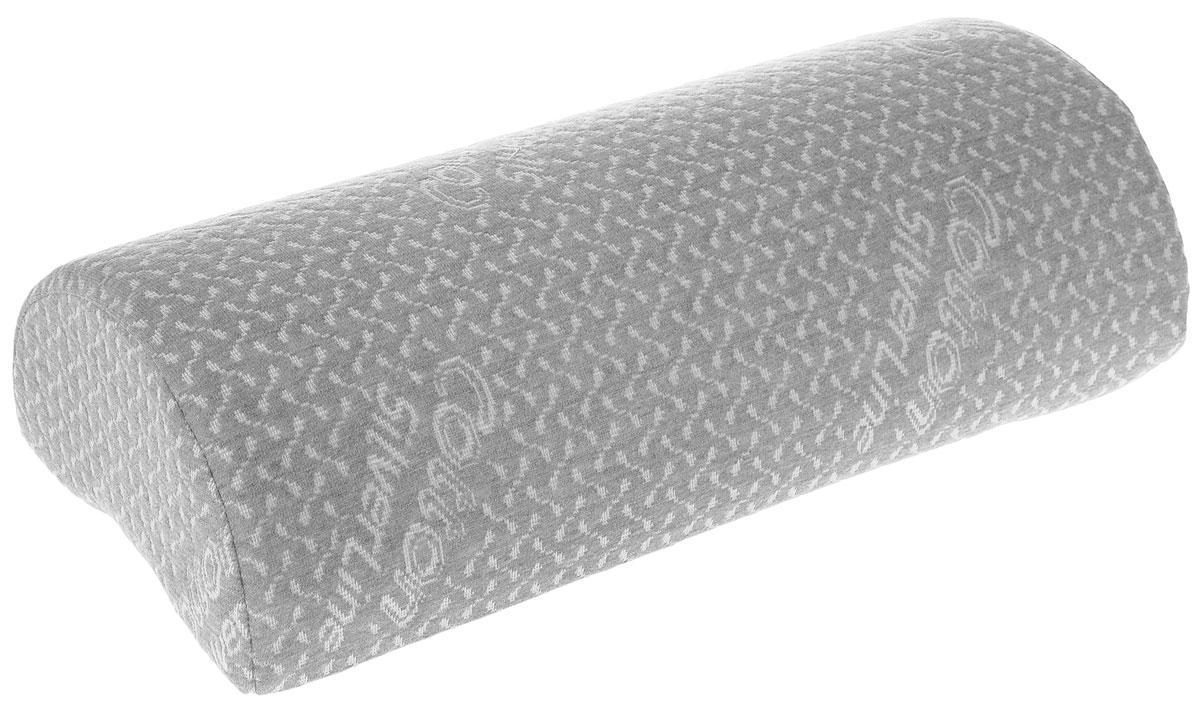 Подушка-валик ортопедическая Торис Бонтон. Сильверлайн, с эффектом памяти, цвет: светло-серый, белый, 40 х 10 х 18 см10503Подушка-валик Торис Бонтон. Сильверлайн, выполненная из вязкоэластичной пены с эффектом памяти, сочетает в себе эргономичную форму и уникальные свойства, даря комфорт своему обладателю. Изделие оснащено эластичной лентой для закрепления на спинке или подголовнике автомобиля.- Снимет напряжение с ног и поясницы во время ночного отдыха.- Обеспечит правильное положение позвоночника во время сидения в кресле.- Подарит комфорт во время поездки на машине.