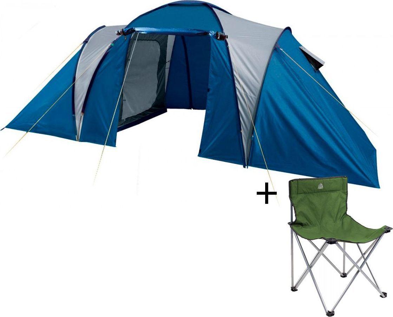 Палатка четырехместная Trek Planet Toledo Twin 4, цвет: синий, серый + Стул складной Trek Planet Traveler, кемпинговый, 48х40х46x74,5 смАМNB-503Четырехместная двухслойная семейная кемпинговая палатка Trek Planet Toledo Twin 4 с двумя отдельными спальными отделениями, отличной вентиляцией и большим тамбуром между спальными отделениями - отличный выбор для семейного кемпинга и отдыха на природе.ОСОБЕННОСТИ МОДЕЛИ: - Тент палатки из полиэстера с пропиткой PU надежно защищает от дождя и ветра. - Все швы проклеены.- Большое и высокое внутреннее помещение между спальными отделениями палатки, где свободно размещается кемпинговый стол и стулья на 4 человек.- Эффективная потолочная система вентиляции в тамбуре, - Дно из прочного водонепроницаемого армированного полиэтилена позволяет устанавливать палатку на жесткой траве, песчаной поверхности, глине и т.д.- Дуги из прочного стекловолокна;- Внутренние палатки из дышащего полиэстера, обеспечивают вентиляцию помещения и позволяют конденсату испаряться, не проникая внутрь палатки;- Вентиляционные окна в спальных отделениях,- Удобная D-образная дверь на входах во внутренние палатки,- Москитная сетка на каждом входе во внутреннюю палатку в полный размер двери;- Внутренние карманы для мелочей в каждом отделении;- Возможность подвески фонаря в палатке;Для удобства транспортировки и хранения предусмотрен чехол из полиэстера, с двумя ручками и закрывающийся на застежку-молнию. Характеристики: Количество мест: 4Цвет: синий, серый.Размер: 240 см х (140+185+140) см х 190 см.Размер внутренней палатки: 220см х 140см х 150смМатериал внешнего тента: 100% полиэстер, пропитка PU.Водостойкость: 2000 мм.Материал внутренней палатки: 100% дышащий полиэстер.Материал пола: 100% полиэтилен.Материл дуги: стекловолокно 9,5 мм.Размер в сложенном виде: 20 см х 20 см х 68 см.Вес палатки: 9,4 кг.Артикул: 70116.Производитель: Китай. Стул складной Trek Planet Traveler, кемпинговый, 48х40х46x74,5 смДостаточно широкое сиденье и спинка складного стула Traveler 