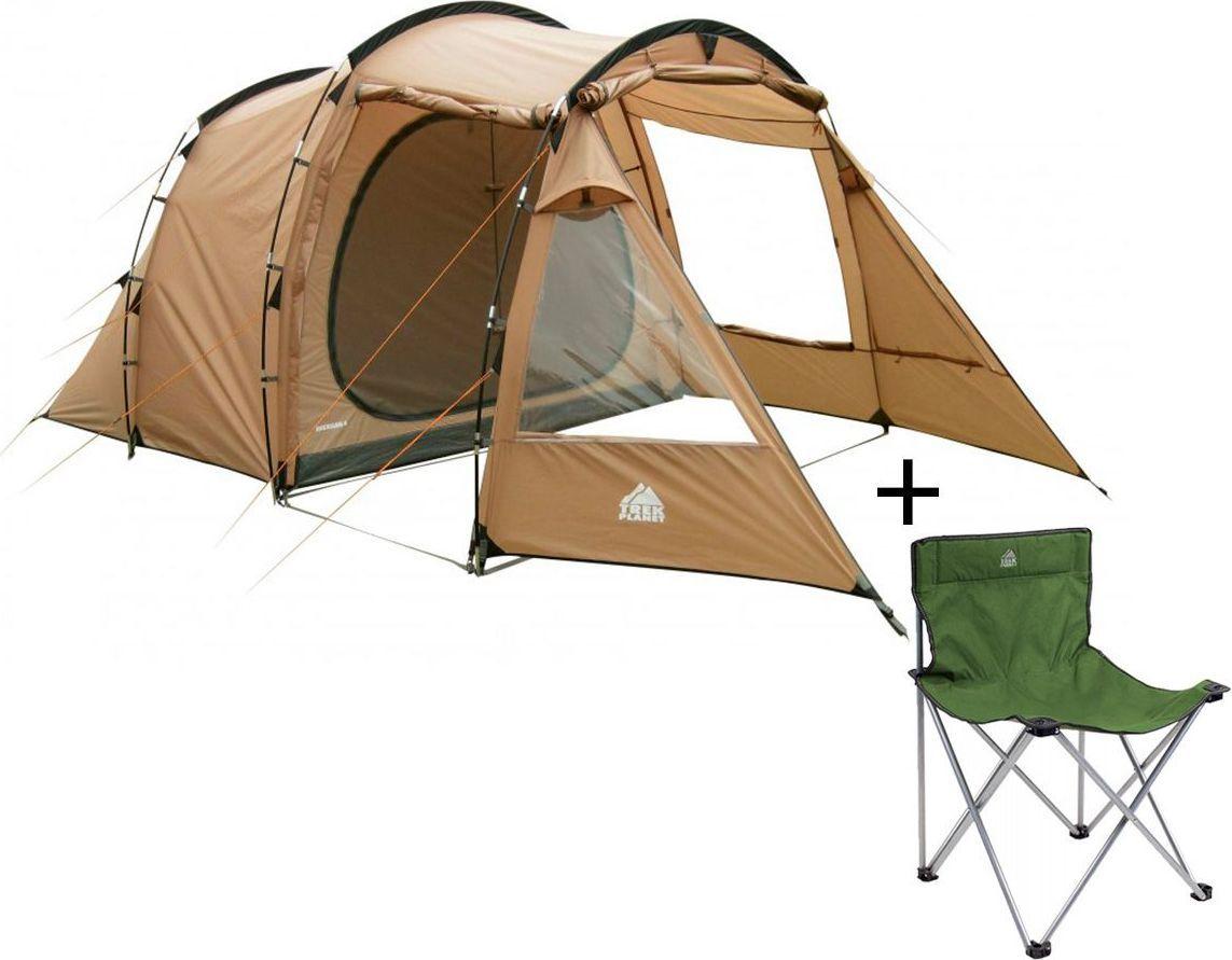 Палатка пятиместная Trek Planet Michigan 5, цвет: песочный + Стул складной Trek Planet Traveler, кемпинговый, 48х40х46x74,5 смАМNB-503Пятиместная двухслойная современная кемпинговая палатка Trek Planet Michigan 5 с вместительным светлым тамбуром и обзорными окнами. Благодаря трем большим обзорным окнам со шторками, достигается отличный обзор из палатки!ОСОБЕННОСТИ МОДЕЛИ: - П-образная конструкция увеличивает полезное внутреннее пространство палатки по сравнению с традиционной конструкцией.- Тент палатки из полиэстера с пропиткой PU надежно защищает от дождя и ветра. - Все швы проклеены.- Высокое, удобное, вместительное и светлое внутреннее помещение с двумя входами,- Три обзорных окна со шторками в тамбуре,- Дно из прочного водонепроницаемого армированного полиэтилена позволяет устанавливать палатку на жесткой траве, песчаной поверхности, глине и т.д.- Дуги из прочного стеклопластика;- Внутренняя палатка из дышащего полиэстера, обеспечивает вентиляцию помещения и позволяет конденсату испаряться, не проникая внутрь палатки;- Трехпозиционное вентиляционное окно в спальном отделении (закрыто, частично открыто, полностью открыто).- Два независимых входа с D-образными дверьми в каждое спальное отделение,- Москитные сетки на каждой двери во внутреннюю палатку в полный размер двери,- Съемная разделительная перегородка в спальном отделении (2+3)- Внутренние карманы для мелочей;- Возможность подвески фонаря в палатке;Для удобства транспортировки и хранения предусмотрен чехол из прочного полиэстера OXFORD, с двумя ручками и закрывающийся на застежку-молнию. Характеристики: Количество мест: 5Размер палатки: 300 см х (140+140+215) см х 200 см.Размер внутренней палатки: 280 см х 215 см х 200 см.Цвет: песочный.Размер в сложенном виде: 28 см х 28 см х 66 см.Материал внешнего тента: 100% полиэстер, пропитка PU.Водостойкость: 3000 мм.Материал внутренней палатки: 100% дышащий полиэстер.Материал пола: 100% полиэтилен.Материл дуги: стеклопласик 12,7 ммВес палатки: 10,6 кг.Артикул: 7024