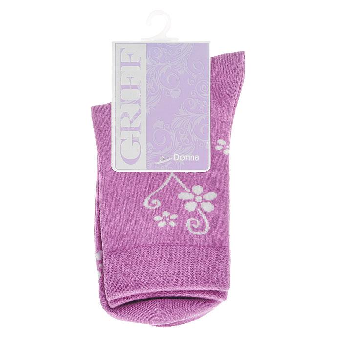 Носки женские Griff Цветок, цвет: фиолетовый. D263. Размер 39/41D263Женские носки Griff Цветок изготовлены из высококачественного сырья. Носки очень мягкие на ощупь, а широкая резинка плотно облегает ногу, не сдавливая ее, благодаря чему вам будет комфортно и удобно. Усиленная пятка и мысок обеспечивают надежность и долговечность.Носки оформлены цветочным орнаментом.