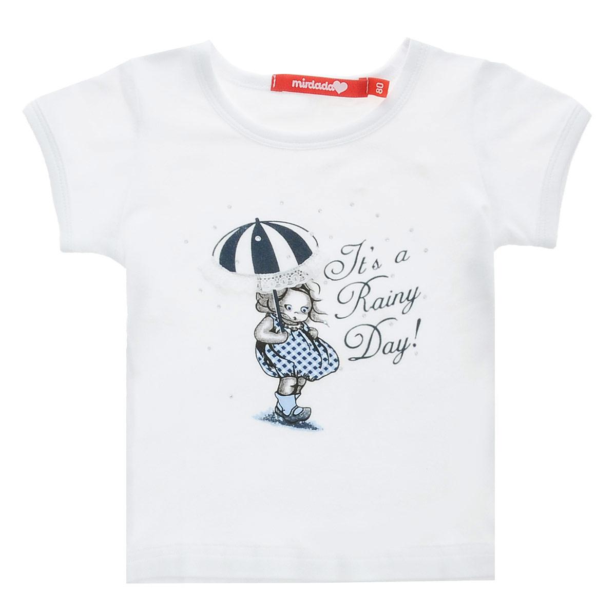 Футболка10-31Оригинальная футболка для девочки Mirdada Rainy идеально подойдет вашей маленькой принцессе. Изготовленная из эластичного хлопка, она необычайно мягкая и приятная на ощупь, не сковывает движения малышки и позволяет коже дышать, не раздражает даже самую нежную и чувствительную кожу ребенка, обеспечивая ему наибольший комфорт. Футболка с короткими рукавами и круглым вырезом горловины спереди оформлена оригинальным рисунком девочки с зонтиком, декорированным россыпью страз, и надписью Its a Rainy Day!. Оригинальный современный дизайн и модная расцветка делают эту футболку модным и стильным предметом детского гардероба. В ней ваша малышка будет чувствовать себя уютно и комфортно, и всегда будет в центре внимания!
