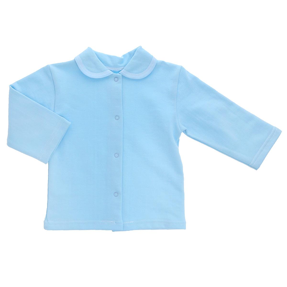 Распашонка5175Кофточка для новорожденного Трон-плюс с длинными рукавами послужит идеальным дополнением к гардеробу вашего малыша, обеспечивая ему наибольший комфорт. Изготовленная из футерованного полотна - натурального хлопка, она необычайно мягкая и легкая, не раздражает нежную кожу ребенка и хорошо вентилируется, а эластичные швы приятны телу малыша и не препятствуют его движениям. Удобные застежки-кнопки по всей длине помогают легко переодеть младенца. Модель дополнена отложным воротником. Кофточка полностью соответствует особенностям жизни ребенка в ранний период, не стесняя и не ограничивая его в движениях.