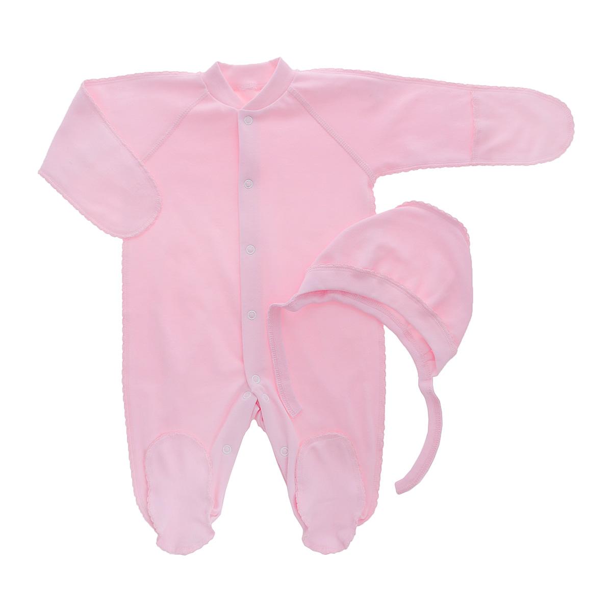 Комплект детский Фреш Стайл: комбинезон, чепчик, цвет: розовый. 37-5231. Размер 50, от 0 месяцев37-5231Комплект Фреш Стайл, состоящий из комбинезона и чепчика, идеально подойдет вашему ребенку. Изготовленный из 100% хлопка, он необычайно мягкий и легкий, приятный на ощупь, не раздражает нежную кожу ребенка и хорошо вентилируется.Комбинезон с воротником-стойкой, длинными рукавами-реглан и закрытыми ножками имеет удобные застежки-кнопки по всей длине и на ластовице, которые помогают легко переодеть ребенка или сменить подгузник. Комбинезон имеет рукавички, с помощью которых ручки могут быть открыты или спрятаны и ваш ребенок не поцарапает себя.Мягкий чепчик защищает еще не заросший родничок, щадит чувствительный слух малыша, а мягкая резиночка, не сдавливая голову малыша,прикрывает ушки и предохраняет от теплопотерь. Швы элементов комплекта выполнены наружу и отделаны красивой декоративной строчкой. Комплект полностью соответствует особенностям жизни малыша в ранний период, не стесняя и не ограничивая его в движениях.