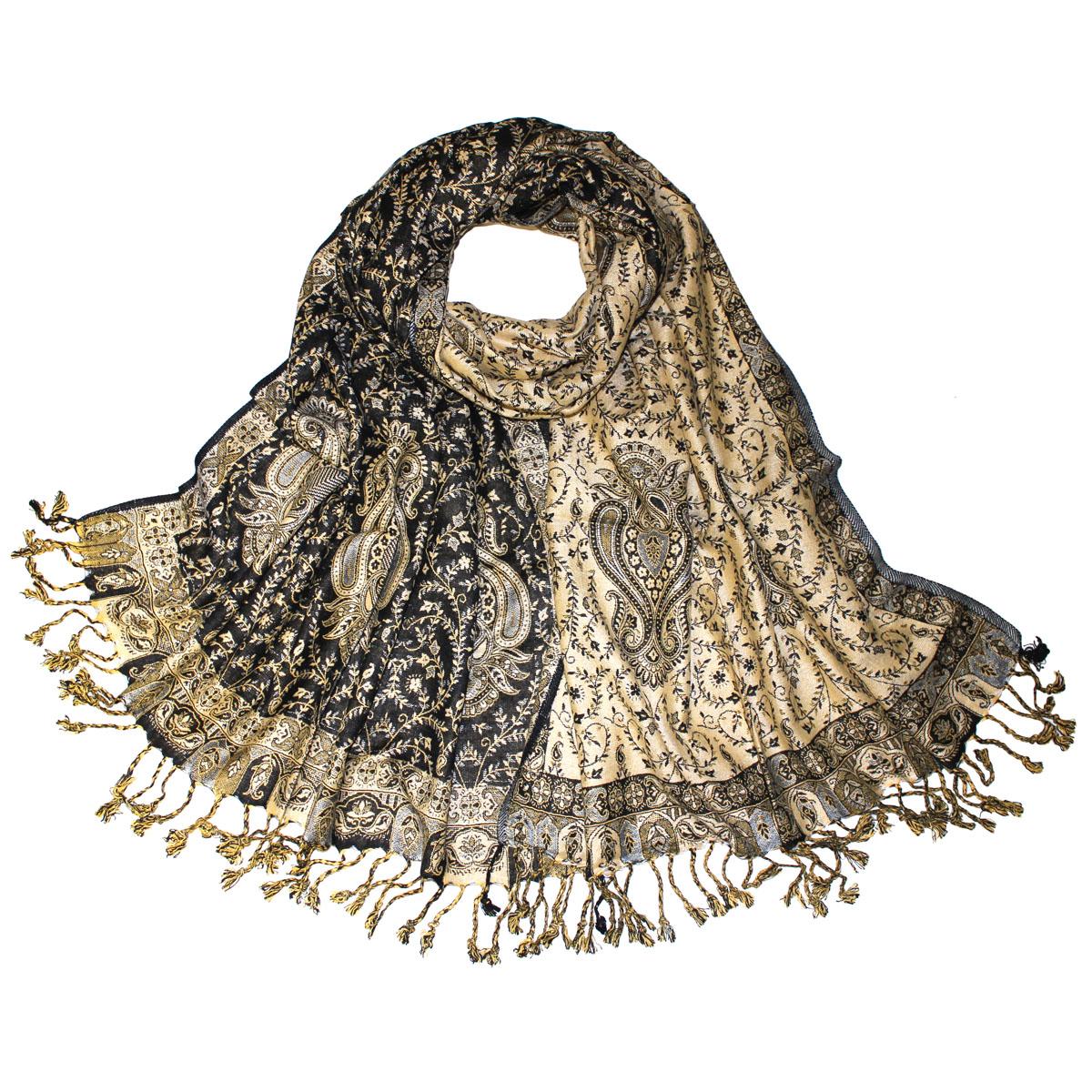 Шаль Ethnica, цвет: бежевый, черный, 71 см х 183 см. 112220н112220нЭлегантная шаль из вискозы создана подчеркивать роскошную неоднозначность вашего образа. Шаль оформлена растительным орнаментом и по краям декорирована кистями.Этот модный аксессуар женского гардероба гармонично дополнит образ современной женщины, следящей за своим имиджем и стремящейся всегда оставаться стильной и элегантной. В такой шали вы всегда будете выглядеть женственной и привлекательной.