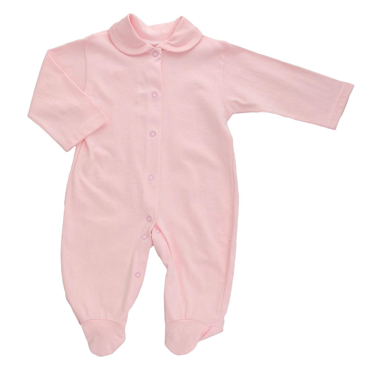 Комбинезон детский Трон-Плюс, цвет: розовый. 5805. Размер 56, 1 месяц5805Детский комбинезон Трон-Плюс - очень удобный и практичный вид одежды для малышей. Комбинезон выполнен из кулирного полотна - натурального хлопка, благодаря чему он необычайно мягкий и приятный на ощупь, не раздражает нежную кожу ребенка, и хорошо вентилируются, а эластичные швы приятны телу малыша и не препятствуют его движениям. Комбинезон с длинными рукавами, закрытыми ножками и отложным воротничком имеет застежки-кнопки от горловины до щиколоток, которые помогают легко переодеть младенца или сменить подгузник. С детским комбинезоном спинка и ножки вашего малыша всегда будут в тепле, он идеален для использования днем и незаменим ночью. Комбинезон полностью соответствует особенностям жизни младенца в ранний период, не стесняя и не ограничивая его в движениях!