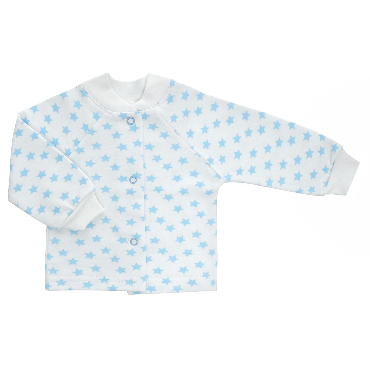 Кофточка детская Трон-Плюс, цвет: белый, голубой, рисунок звезды. 5174. Размер 62, 3 месяца5174Кофточка для новорожденного Трон-плюс с длинными рукавами и небольшим воротничком-стоечкой послужит идеальным дополнением к гардеробу вашего ребенка, обеспечивая ему наибольший комфорт. Изготовленная из футера - натурального хлопка, она необычайно мягкая и легкая и теплая, не раздражает нежную кожу ребенка и хорошо вентилируется, а эластичные швы приятны телу малыша и не препятствуют его движениям. Удобные застежки-кнопки по всей длине помогают легко переодеть младенца. Рукава-реглан понизу дополнены трикотажными манжетами, не пережимающими ручку. Воротничок дополнен эластичной трикотажной резинкой. Кофточка полностью соответствует особенностям жизни ребенка в ранний период, не стесняя и не ограничивая его в движениях.