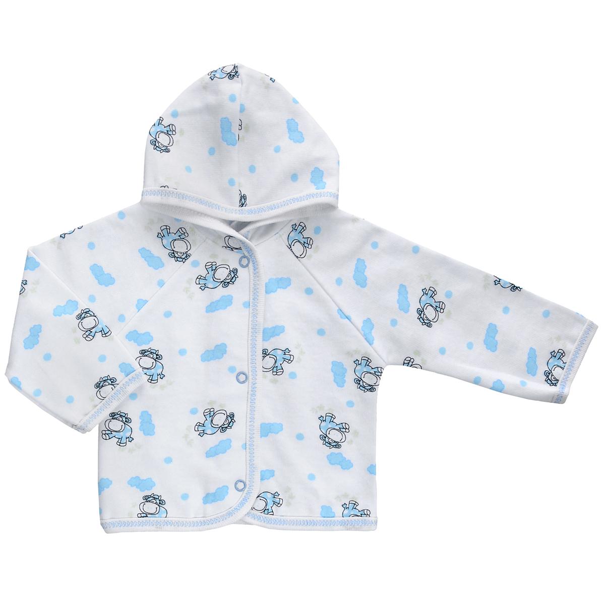 Кофточка детская Трон-плюс, цвет: белый, голубой, рисунок коровы. 5172. Размер 68, 6 месяцев5172Теплая кофточка Трон-плюс идеально подойдет вашему младенцу и станет идеальным дополнением к гардеробу вашего ребенка, обеспечивая ему наибольший комфорт. Изготовленная из футера - натурального хлопка, она необычайно мягкая и легкая, не раздражает нежную кожу ребенка и хорошо вентилируется, а эластичные швы приятны телу малыша и не препятствуют его движениям. Удобные застежки-кнопки по всей длине помогают легко переодеть младенца. Модель с длинными рукавами-реглан дополнена капюшоном. По краям кофточка обработана бейкой и украшена оригинальным принтом.Кофточка полностью соответствует особенностям жизни ребенка в ранний период, не стесняя и не ограничивая его в движениях.