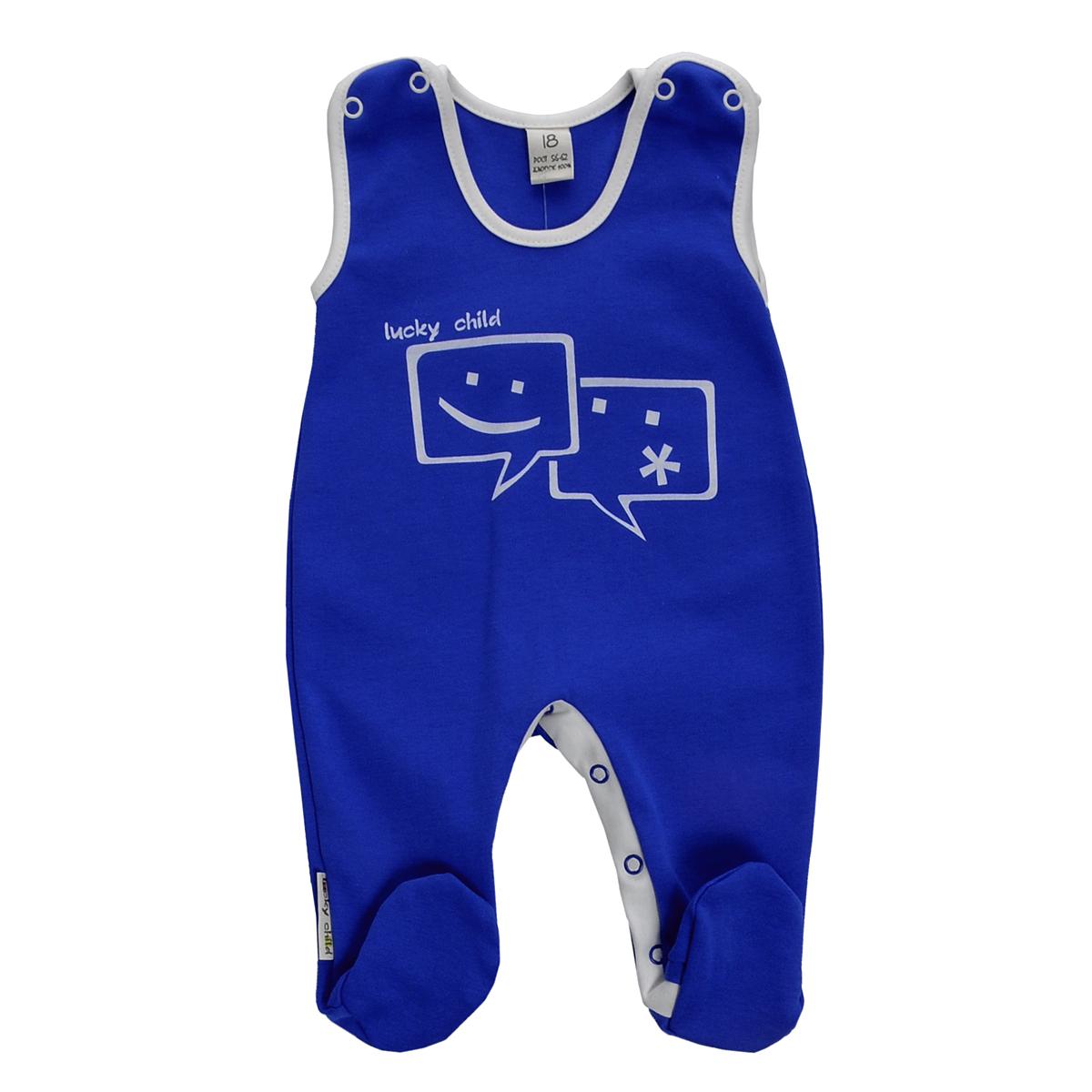 Ползунки9-2Ползунки с грудкой для мальчика Lucky Child - очень удобный и практичный вид одежды для малышей. Они отлично сочетаются с футболками и кофточками. Ползунки выполнены из натурального хлопка, благодаря чему они необычайно мягкие и приятные на ощупь, не раздражают нежную кожу ребенка и хорошо вентилируются, а эластичные швы приятны телу малыша и не препятствуют его движениям. Ползунки с закрытыми ножками, застегивающиеся сверху на кнопки, идеально подойдут вашему малышу, обеспечивая ему наибольший комфорт. Они подходят для ношения с подгузником и без него. Кнопки на ластовице помогают легко и без труда поменять подгузник в течение дня. На груди они оформлены оригинальным принтом в виде смайликов. Ползунки с грудкой полностью соответствуют особенностям жизни малыша в ранний период, не стесняя и не ограничивая его в движениях!