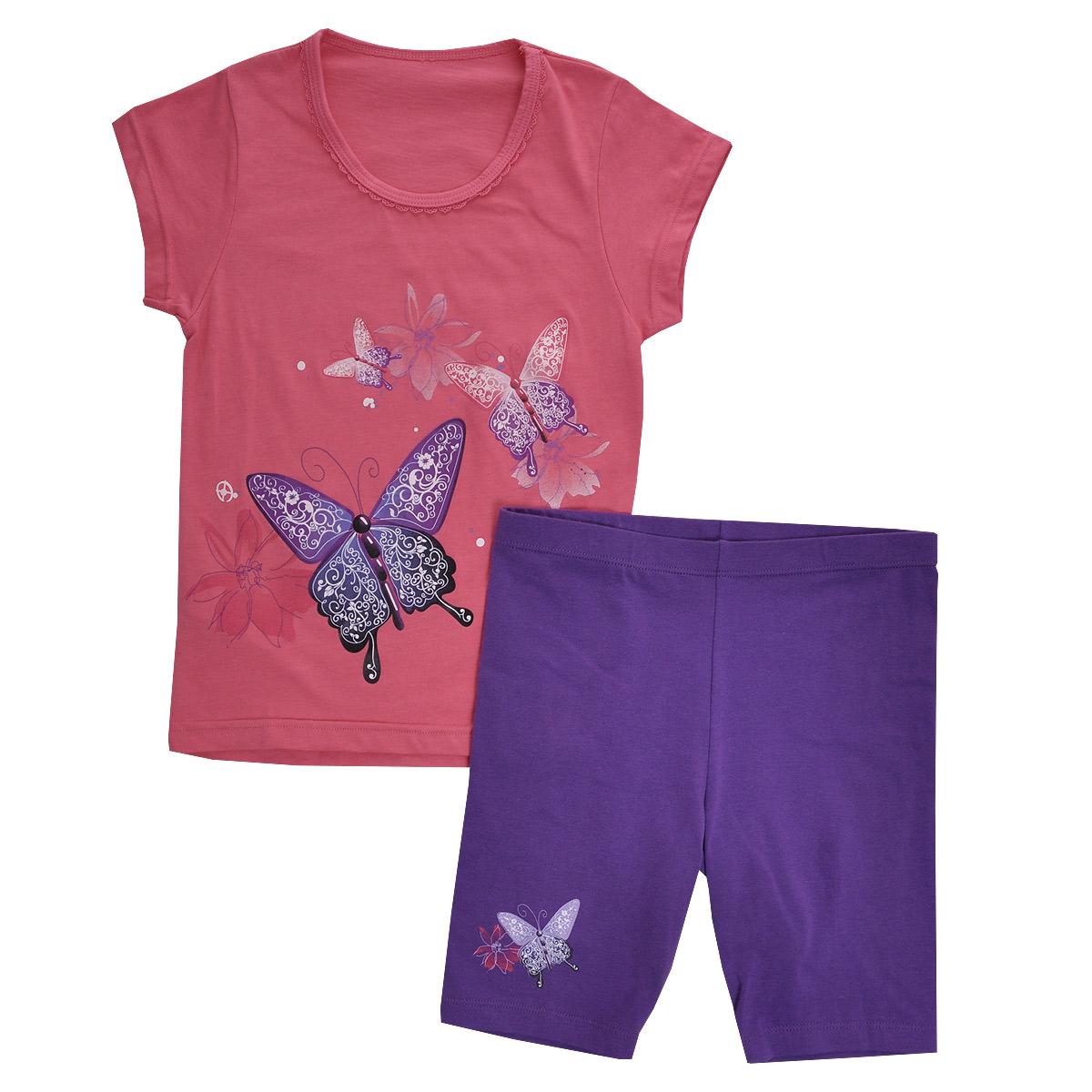Комплект для девочки Lowry: футболка, шорты, цвет: розовый, сиреневый. GF/GL-252. Размер 34 (XL)GF/GL-252Комплект для девочки Lowry, состоящий из футболки и шорт, идеально подойдет вашей малышке. Изготовленный из натурального хлопка, он необычайно мягкий и приятный на ощупь, не сковывает движения малышки и позволяет коже дышать, не раздражает даже самую нежную и чувствительную кожу ребенка, обеспечивая ему наибольший комфорт. Футболка с короткими рукавами и круглым вырезом горловины спереди оформлена яркой термоаппликацией с изображением бабочек. Вырез горловины украшен ажурными рюшами.Шортики на талии имеют широкую эластичную резинку, благодаря чему они не сдавливают животик ребенка и не сползают. Правая брючина оформлена термоаппликацией с изображением бабочки и цветочка.Оригинальный дизайн и модная расцветка делают этот комплект незаменимым предметом детского гардероба. В нем вашей маленькой принцессе будет комфортно и уютно, и она всегда будет в центре внимания!