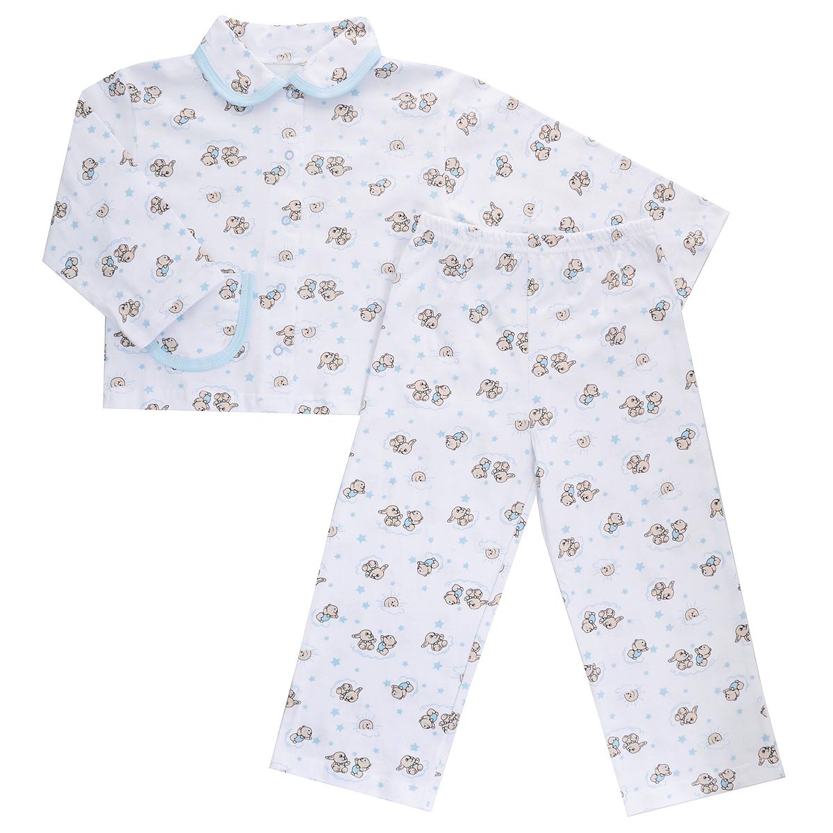Пижама детская Трон-плюс, цвет: белый, голубой, рисунок зайцы. 5562. Размер 80/86, 1-2 года5562Яркая детская пижама Трон-плюс, состоящая из кофточки и штанишек, идеально подойдет вашему малышу и станет отличным дополнением к детскому гардеробу. Теплая пижама, изготовленная из кулирки - натурального хлопка, необычайно мягкая и легкая, не сковывает движения ребенка, позволяет коже дышать и не раздражает даже самую нежную и чувствительную кожу малыша. Кофта с длинными рукавами имеет отложной воротничок и застегивается на кнопки, также оформлена небольшим накладным карманчиком. Штанишки на удобной резинке не сдавливают животик ребенка и не сползают.В такой пижаме ваш ребенок будет чувствовать себя комфортно и уютно во время сна.
