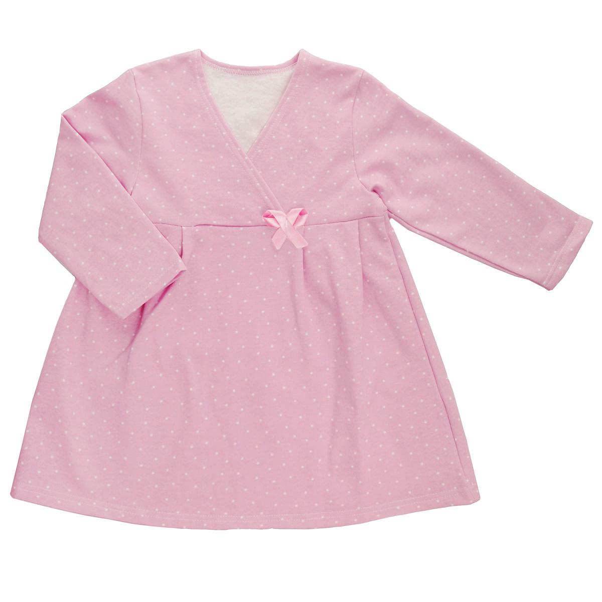 Сорочка ночная для девочки Трон-плюс, цвет: розовый, белый, рисунок горох. 5522. Размер 110/116, 4-8 лет5522Яркая сорочка Трон-плюс идеально подойдет вашей малышке и станет отличным дополнением к детскому гардеробу. Теплая сорочка, изготовленная из футера - натурального хлопка, необычайно мягкая и легкая, не сковывает движения ребенка, позволяет коже дышать и не раздражает даже самую нежную и чувствительную кожу малыша. Сорочка трапециевидного кроя с длинными рукавами, V-образным вырезом горловины. Полочка состоит из двух частей, заходящих друг на друга. По переднему и заднему полотнищам юбки заложены небольшие складки. Сорочка оформлена атласным бантиком.В такой сорочке ваш ребенок будет чувствовать себя комфортно и уютно во время сна.