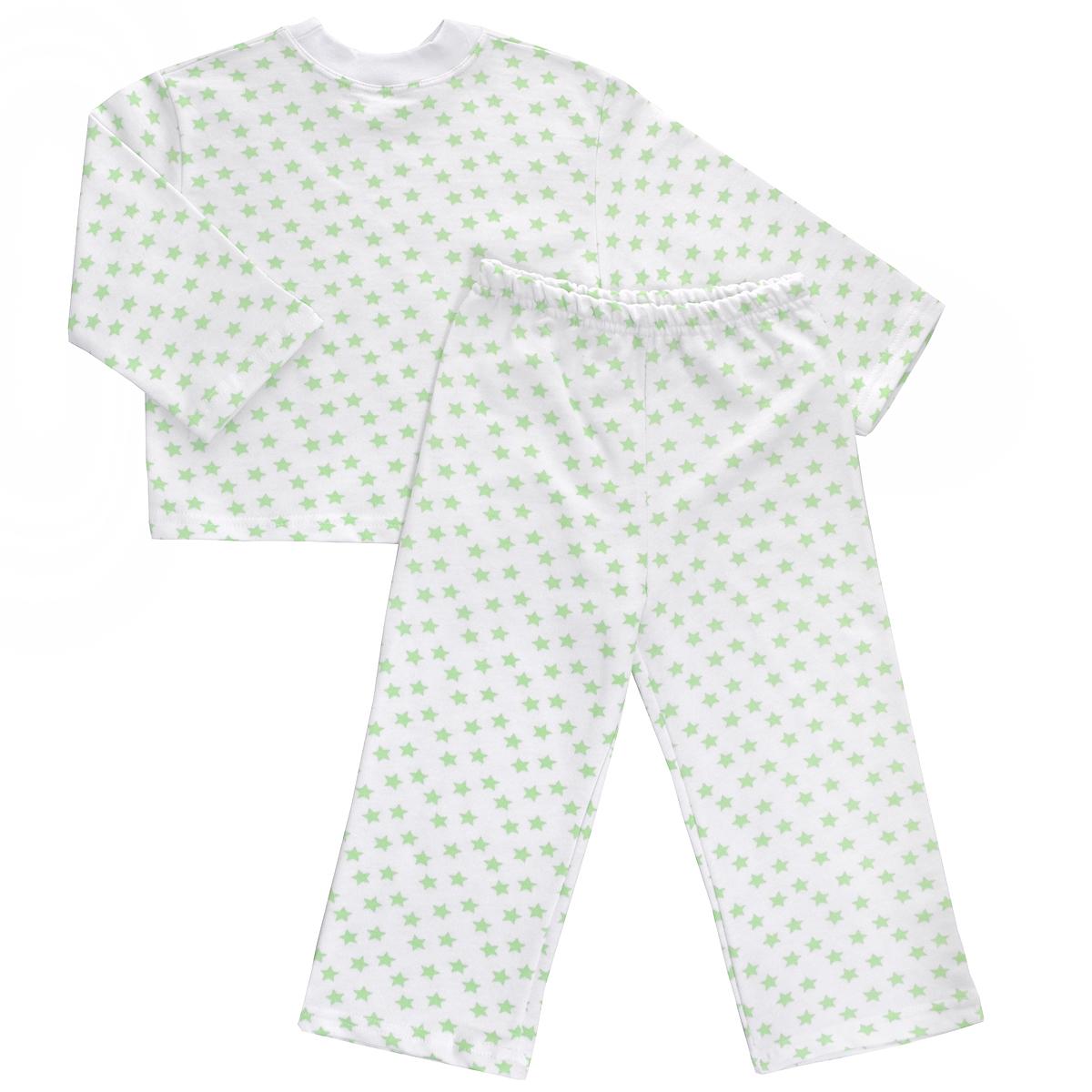 Пижама детская Трон-плюс, цвет: белый, салатовый, рисунок звезды. 5553. Размер 86/92, 2-3 года5553Яркая детская пижама Трон-плюс, состоящая из кофточки и штанишек, идеально подойдет вашему малышу и станет отличным дополнением к детскому гардеробу. Теплая пижама, изготовленная из набивного футера - натурального хлопка, необычайно мягкая и легкая, не сковывает движения ребенка, позволяет коже дышать и не раздражает даже самую нежную и чувствительную кожу малыша. Кофта с длинными рукавами имеет круглый вырез горловины. Штанишки на удобной резинке не сдавливают животик ребенка и не сползают.В такой пижаме ваш ребенок будет чувствовать себя комфортно и уютно во время сна.