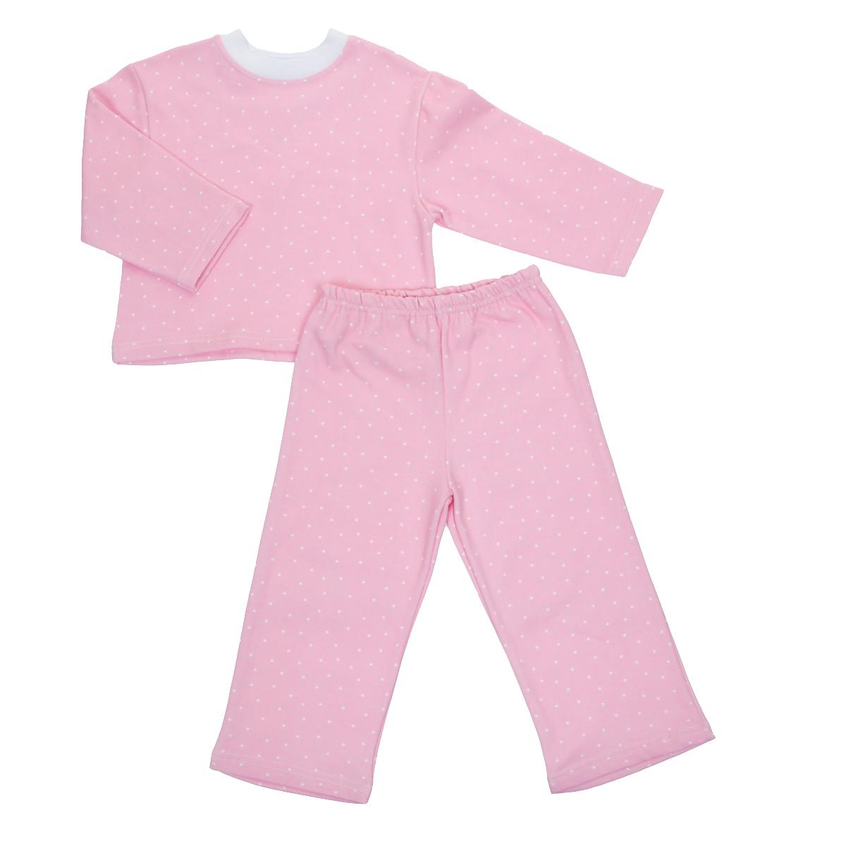 Пижама детская Трон-плюс, цвет: розовый, белый, рисунок горох. 5553. Размер 98/104, 3-5 лет5553Яркая детская пижама Трон-плюс, состоящая из кофточки и штанишек, идеально подойдет вашему малышу и станет отличным дополнением к детскому гардеробу. Теплая пижама, изготовленная из набивного футера - натурального хлопка, необычайно мягкая и легкая, не сковывает движения ребенка, позволяет коже дышать и не раздражает даже самую нежную и чувствительную кожу малыша. Кофта с длинными рукавами имеет круглый вырез горловины. Штанишки на удобной резинке не сдавливают животик ребенка и не сползают.В такой пижаме ваш ребенок будет чувствовать себя комфортно и уютно во время сна.