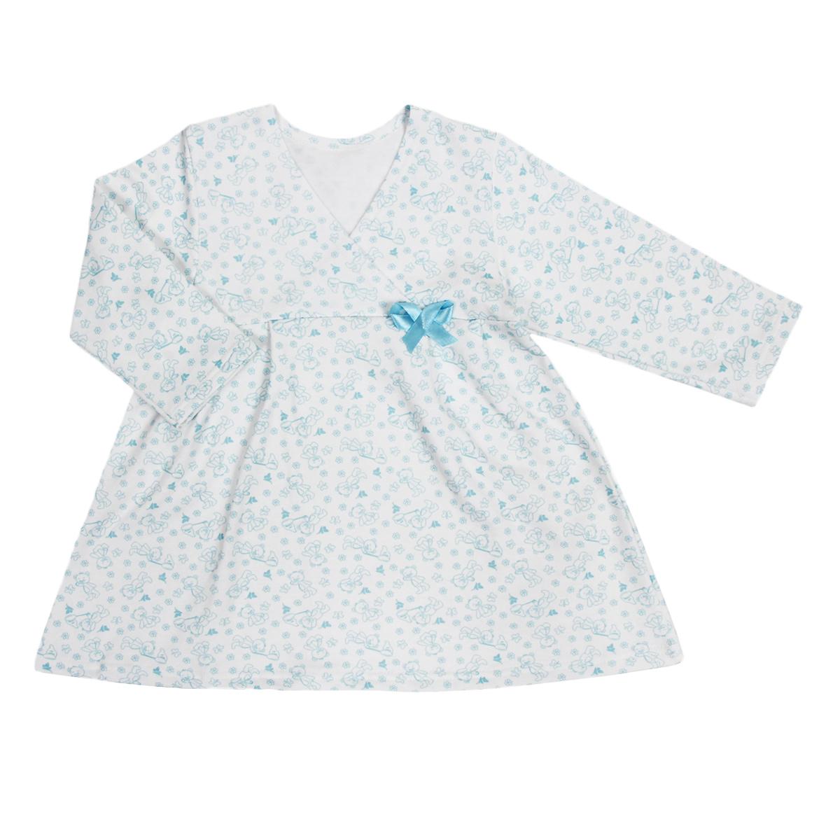 Сорочка ночная для девочки Трон-плюс, цвет: белый, голубой, рисунок мишки. 5522. Размер 98/104, 3-5 лет5522Яркая сорочка Трон-плюс идеально подойдет вашей малышке и станет отличным дополнением к детскому гардеробу. Теплая сорочка, изготовленная из футера - натурального хлопка, необычайно мягкая и легкая, не сковывает движения ребенка, позволяет коже дышать и не раздражает даже самую нежную и чувствительную кожу малыша. Сорочка трапециевидного кроя с длинными рукавами, V-образным вырезом горловины. Полочка состоит из двух частей, заходящих друг на друга. По переднему и заднему полотнищам юбки заложены небольшие складки. Сорочка оформлена атласным бантиком.В такой сорочке ваш ребенок будет чувствовать себя комфортно и уютно во время сна.