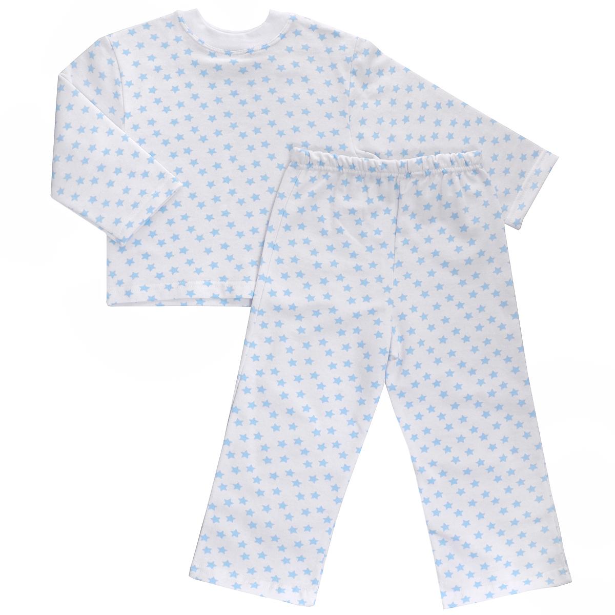 Пижама детская Трон-плюс, цвет: белый, голубой, рисунок звезды. 5553. Размер 86/92, 2-3 года5553Яркая детская пижама Трон-плюс, состоящая из кофточки и штанишек, идеально подойдет вашему малышу и станет отличным дополнением к детскому гардеробу. Теплая пижама, изготовленная из набивного футера - натурального хлопка, необычайно мягкая и легкая, не сковывает движения ребенка, позволяет коже дышать и не раздражает даже самую нежную и чувствительную кожу малыша. Кофта с длинными рукавами имеет круглый вырез горловины. Штанишки на удобной резинке не сдавливают животик ребенка и не сползают.В такой пижаме ваш ребенок будет чувствовать себя комфортно и уютно во время сна.