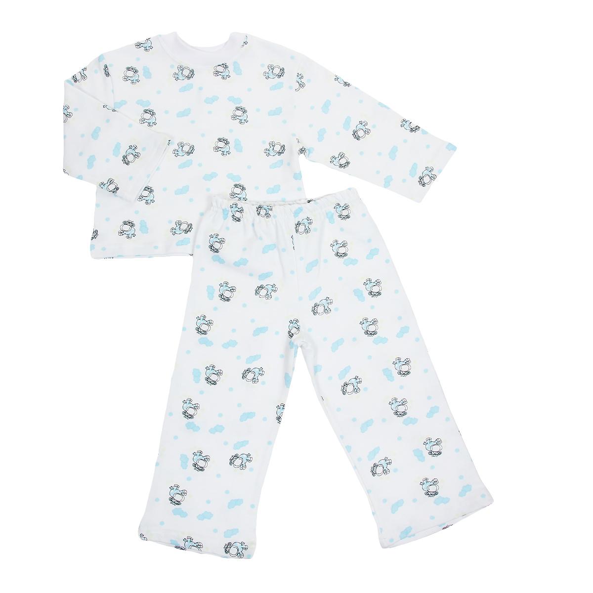Пижама детская Трон-плюс, цвет: белый, голубой, рисунок коровы. 5553. Размер 80/86, 1-2 года5553Яркая детская пижама Трон-плюс, состоящая из кофточки и штанишек, идеально подойдет вашему малышу и станет отличным дополнением к детскому гардеробу. Теплая пижама, изготовленная из набивного футера - натурального хлопка, необычайно мягкая и легкая, не сковывает движения ребенка, позволяет коже дышать и не раздражает даже самую нежную и чувствительную кожу малыша. Кофта с длинными рукавами имеет круглый вырез горловины. Штанишки на удобной резинке не сдавливают животик ребенка и не сползают.В такой пижаме ваш ребенок будет чувствовать себя комфортно и уютно во время сна.