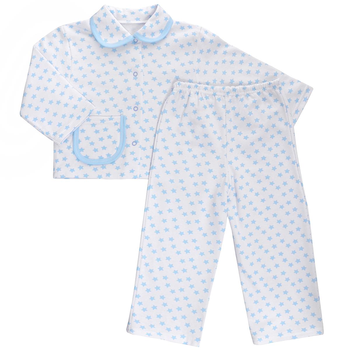 Пижама детская Трон-плюс, цвет: белый, голубой, рисунок звезды. 5552. Размер 86/92, 2-3 года5552Яркая детская пижама Трон-плюс, состоящая из кофточки и штанишек, идеально подойдет вашему малышу и станет отличным дополнением к детскому гардеробу. Теплая пижама, изготовленная из набивного футера - натурального хлопка, необычайно мягкая и легкая, не сковывает движения ребенка, позволяет коже дышать и не раздражает даже самую нежную и чувствительную кожу малыша. Кофта с длинными рукавами имеет отложной воротничок и застегивается на кнопки, также оформлена небольшим накладным карманчиком. Штанишки на удобной резинке не сдавливают животик ребенка и не сползают.В такой пижаме ваш ребенок будет чувствовать себя комфортно и уютно во время сна.