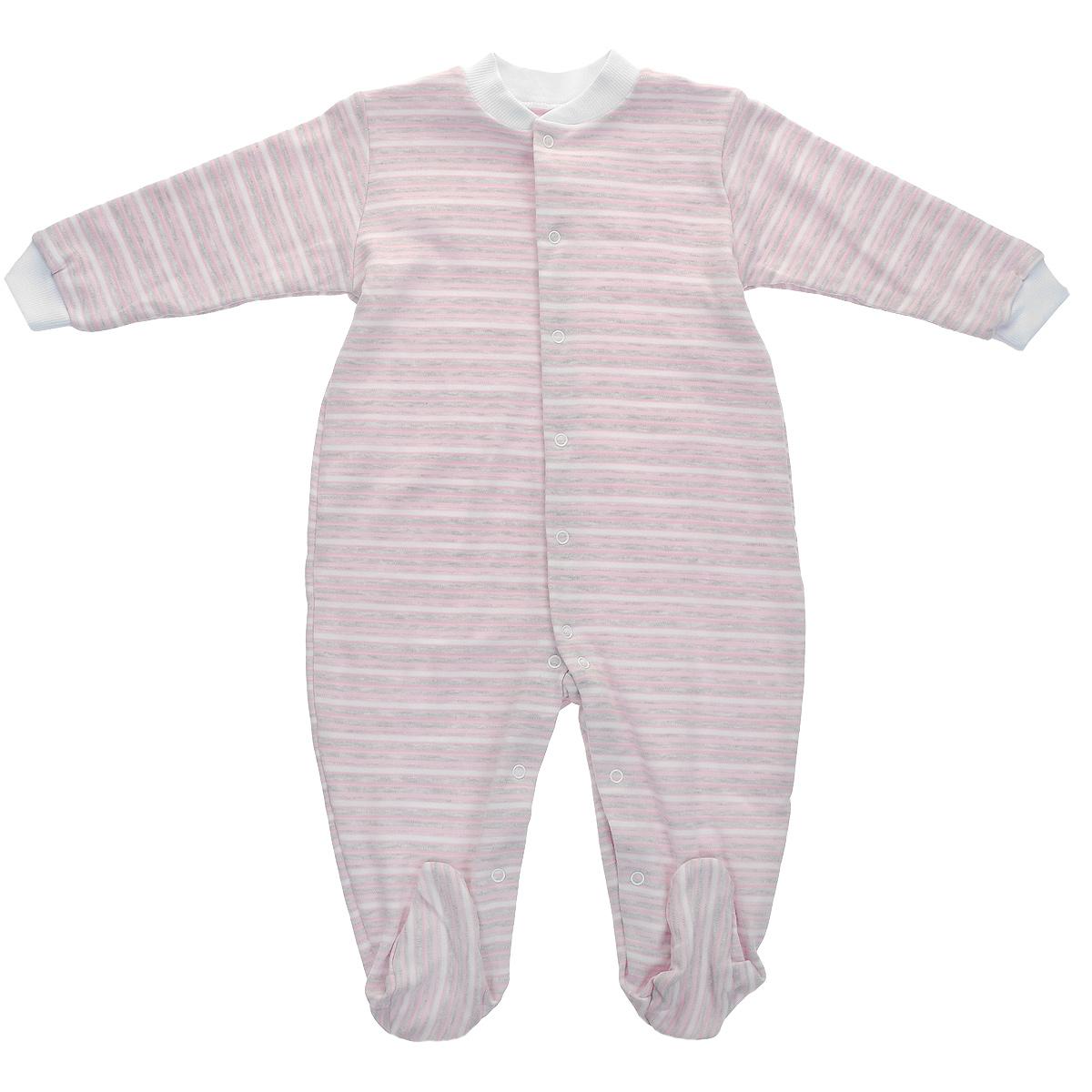 Комбинезон домашний39-526Детский комбинезон Фреш Стайл станет идеальным дополнением к гардеробу вашего ребенка. Изготовленный из натурального хлопка - интерлок-пенье, он необычайно мягкий и приятный на ощупь, не раздражает нежную кожу ребенка и хорошо вентилируется. Комбинезон с длинными рукавами, закрытыми ножками и небольшим воротником-стойкой застегиваются спереди на металлические кнопки по всей длине и на ластовице, что облегчает переодевание ребенка и смену подгузника. Горловина и манжеты дополнены трикотажной эластичной резинкой. Оформлен комбинезон принтом в полоску. Оригинальное сочетание тканей и забавный рисунок делают этот предмет детской одежды оригинальным и стильным.