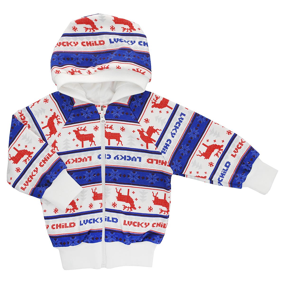 Кофточка детская Lucky Child, цвет: молочный, синий, красный. 10-17. Размер 86/9210-17Кофточка для новорожденного Lucky Child с длинными рукавами-реглан и капюшоном послужит идеальным дополнением к гардеробу вашего малыша, обеспечивая ему наибольший комфорт. Изготовленная из натурального хлопка, она необычайно мягкая и легкая, не раздражает нежную кожу ребенка и хорошо вентилируется, а эластичные швы приятны телу малыша и не препятствуют его движениям. Лицевая сторона гладкая, а изнаночная - с мягким теплым начесом.Удобная застежка-молния по всей длине помогает легко переодеть младенца. Рукава понизу дополнены широкими трикотажными манжетами, не стягивающими запястья. Понизу также проходит широкая трикотажная резинка. Оформлена модель модным скандинавским принтом. Кофточка полностью соответствует особенностям жизни ребенка в ранний период, не стесняя и не ограничивая его в движениях. В ней ваш младенец всегда будет в центре внимания.