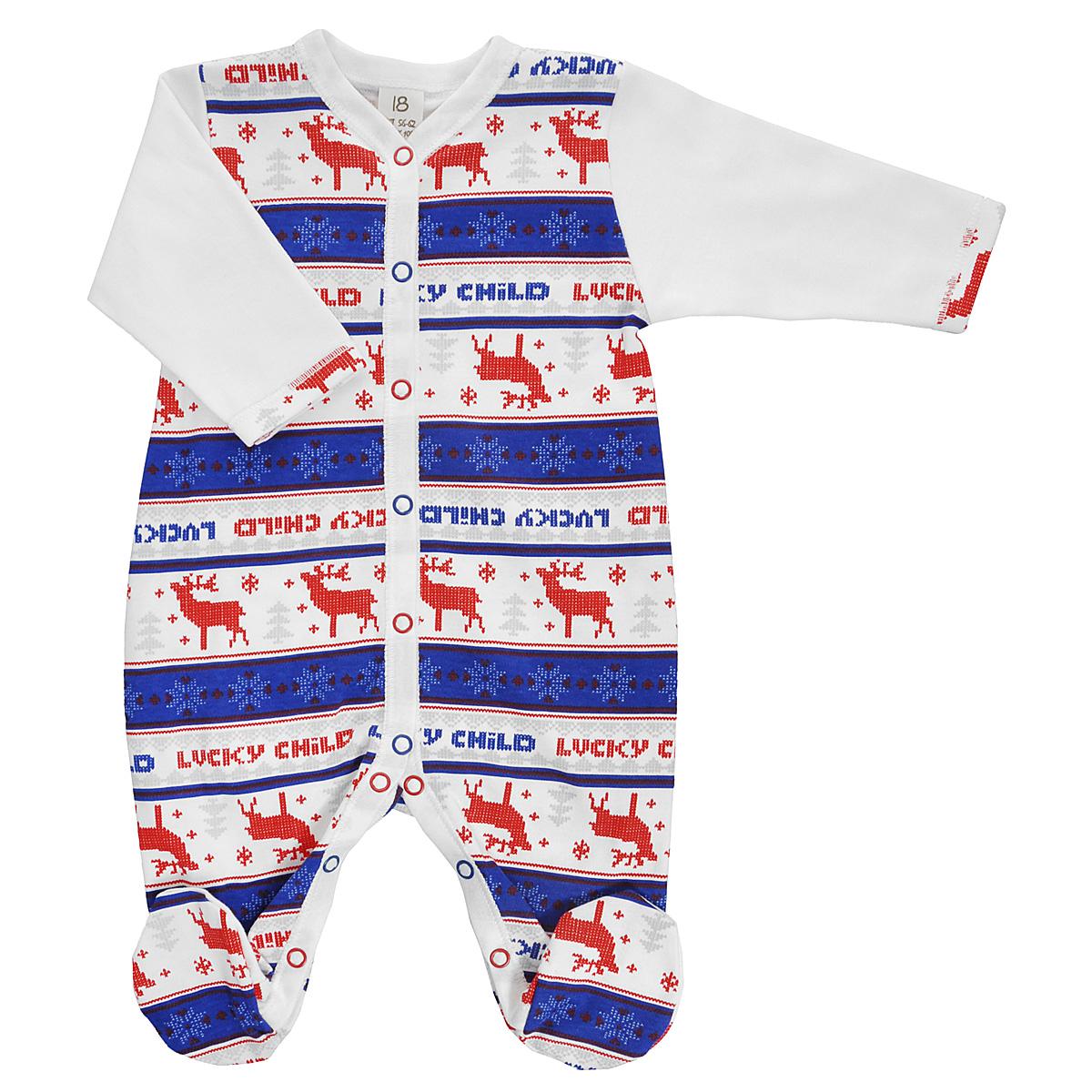 Комбинезон детский Lucky Child, цвет: молочный, синий, красный. 10-1_легкий. Размер 74/8010-1_легкийДетский комбинезон Lucky Child Скандинавия - очень удобный и практичный вид одежды для малышей. Комбинезон выполнен из натурального хлопка, благодаря чему он необычайно мягкий и приятный на ощупь, не раздражает нежную кожу ребенка и хорошо вентилируется, а эластичные швы приятны телу малыша и не препятствуют его движениям. Комбинезон с длинными рукавами и закрытыми ножками имеет застежки-кнопки от горловины до щиколоток, которые помогают легко переодеть младенца или сменить подгузник. Оформлена модель модным скандинавским принтом. С детским комбинезоном Lucky Child спинка и ножки вашего малыша всегда будут в тепле, он идеален для использования днем и незаменим ночью. Комбинезон полностью соответствует особенностям жизни младенца в ранний период, не стесняя и не ограничивая его в движениях!