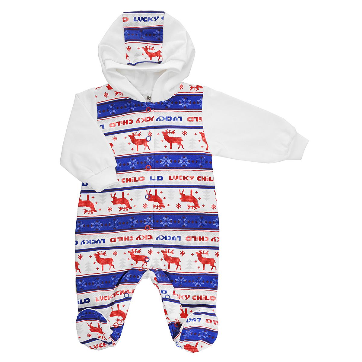 Комбинезон детский Lucky Child, цвет: молочный, синий, красный. 10-3. Размер 68/7410-3Детский комбинезон Lucky Child - очень удобный и практичный вид одежды для малышей. Комбинезон выполнен из натурального хлопка, благодаря чему он необычайно мягкий и приятный на ощупь, не раздражает нежную кожу ребенка и хорошо вентилируется, а эластичные швы приятны телу малыша и не препятствуют его движениям. Лицевая сторона гладкая, а изнаночная - с мягким теплым начесом. Комбинезон с капюшоном, длинными рукавами и закрытыми ножками имеет застежки-кнопки от горловины до щиколоток, которые помогают легко переодеть младенца или сменить подгузник. Рукава дополнены широкими трикотажными манжетами, не сжимающими запястья ребенка. Оформлена модель модным скандинавским принтом. С детским комбинезоном Lucky Child спинка и ножки вашего малыша всегда будут в тепле, он идеален для использования днем и незаменим ночью. Комбинезон полностью соответствует особенностям жизни младенца в ранний период, не стесняя и не ограничивая его в движениях!