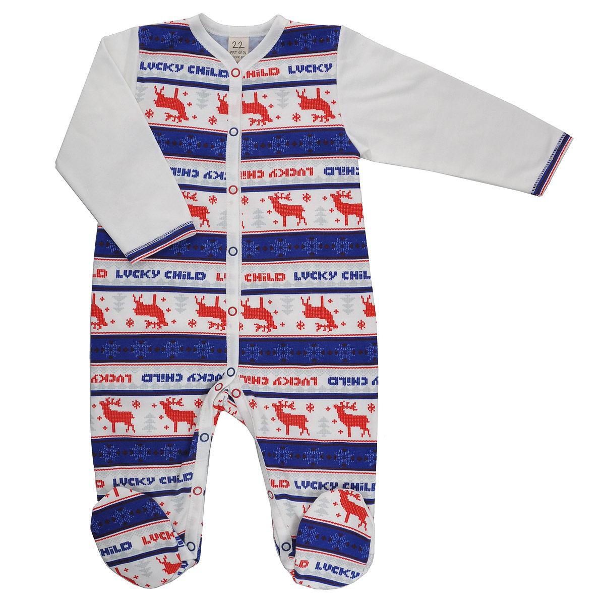 Комбинезон домашний10-1_футерДетский комбинезон Lucky Child Скандинавия - очень удобный и практичный вид одежды для малышей. Комбинезон выполнен из теплого футера - натурального хлопка, благодаря чему он необычайно мягкий и приятный на ощупь, не раздражает нежную кожу ребенка и хорошо вентилируется, а эластичные швы приятны телу малыша и не препятствуют его движениям. Комбинезон с длинными рукавами и закрытыми ножками имеет застежки-кнопки от горловины до щиколоток, которые помогают легко переодеть младенца или сменить подгузник. Оформлена модель модным скандинавским принтом. С детским комбинезоном Lucky Child спинка и ножки вашего малыша всегда будут в тепле, он идеален для использования днем и незаменим ночью. Комбинезон полностью соответствует особенностям жизни младенца в ранний период, не стесняя и не ограничивая его в движениях!