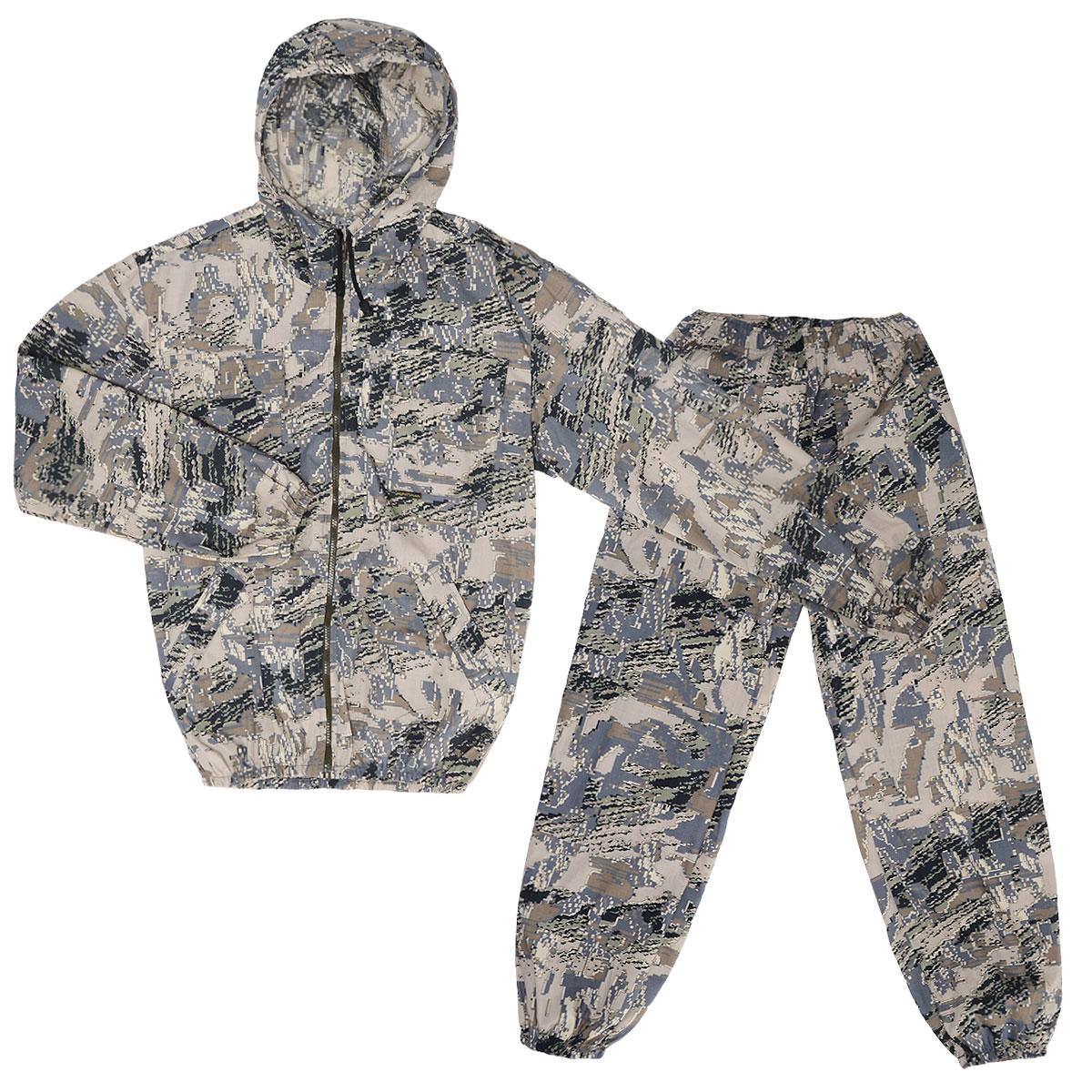 Костюм маскировочный мужской Стрелок, цвет: серый, коричневый. VST-L. Размер 56-58VST-LОтличный легкий летний костюм, аналог Снайпера, используется весной и летом-жаркую погоду, для любого отдыха на природе, в том числе активного, от +12 до 25 град. С. Прочная ткань с хлопком, дышит в жару, полиэстер дает прочность. Особенности модели: - куртка на молнии с капюшоном;- низ куртки и рукава на резинке; - два накладных кармана-с клапанами на груди, застегиваются на липучку, два боковых- прорезных с листочками;- на левом рукаве накладной карман с клапаном, застегивается на липучку; - брюки широкие по низу и талии стягиваются резинкой; - функциональные объемные карманы выше колена; - маскировочные цвета, легкая, прочная, дышащая ткань.
