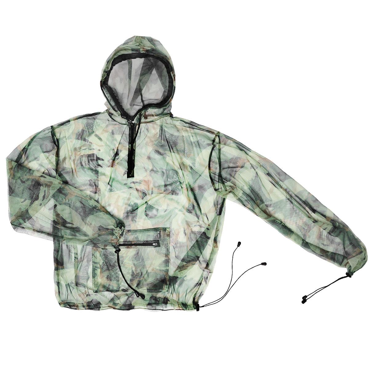 Куртка антимоскитная Norfin, цвет: милитари. 6020. Размер XL (54/56)6020Антимоскитная куртка защитит тело и лицо от насекомых. Куртка с капюшоном и длинными рукавами, выполненная из легкой сетки, на груди застегивается на застежку-молнию. Манжеты на рукавах и низ изделия затягиваются при помощи эластичных резинок с фиксаторами. Спереди она дополнена вместительным карманом на застежке-молнии. Капюшон оснащен защитой лица, которую при необходимости можно снять.Особенности модели:Защита тела и лица от насекомых Передняя молния Возможность снятия защиты с лица Манжеты на рукавах Нижняя стяжка куртки с фиксатором.