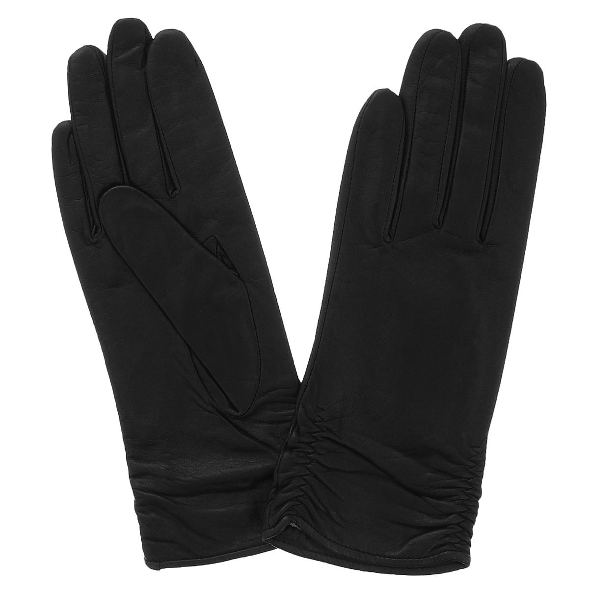 Перчатки13_ASTRA/BL//11Стильные женские перчатки Dali Exclusive выполнены из мягкой и приятной на ощупь натуральной кожи ягненка с подкладкой из 100% шерсти. Манжеты по боковому шву собраны на резинку. Такие перчатки подчеркнут ваш стиль и неповторимость.