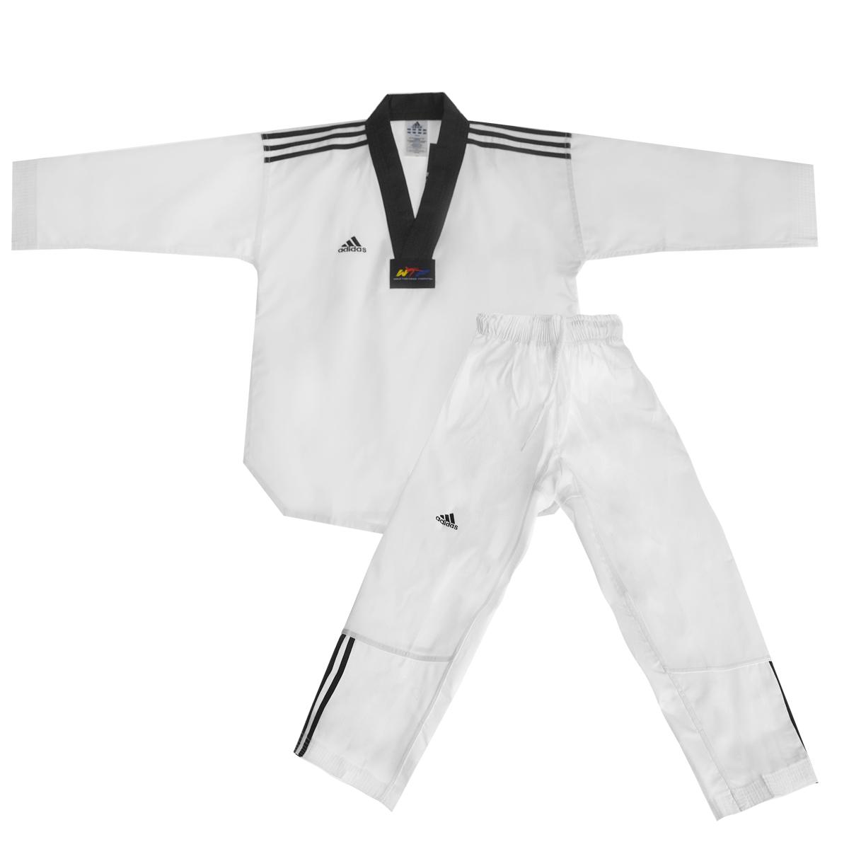 Кимоно для таэквондоadiTCB02-WH/BKКимоно для тхэквондо adidas WTF Adi-Club 3 состоит из рубашки и брюк. Просторная рубашка без пояса с V-образным вырезом горловин, боковыми разрезами и длинными рукавами изготовлена из плотного полиэстера с добавлением хлопка. Боковые швы, края рукавов и полочка укреплены дополнительными строчками. В области талии по спинке рубашка дополнена эластичной резинкой для регулирования ширины. Просторные брюки особого покроя имеют широкий эластичный пояс, регулируемый скрытым шнурком. Низ брючин с внутренней стороны укреплен дополнительными строчками. Кимоно рекомендуется для тренировок в зале.