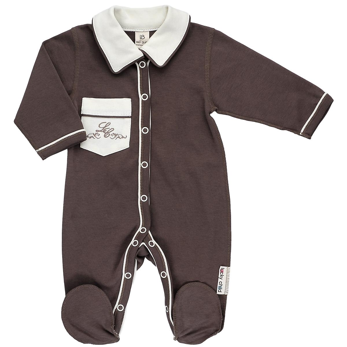 Комбинезон домашний20-1Детский комбинезон Lucky Child - очень удобный и практичный вид одежды для малышей. Комбинезон выполнен из натурального хлопка, благодаря чему он необычайно мягкий и приятный на ощупь, не раздражает нежную кожу ребенка и хорошо вентилируется, а плоские швы приятны телу ребенка и не препятствуют его движениям. Комбинезон с длинными рукавами, отложным воротничком и закрытыми ножками, выполнен швами наружу. Он застегивается на кнопки от горловины до щиколоток, благодаря чему переодеть младенца или сменить подгузник будет легко. Низ рукавов и планка с кнопками дополнены контрастными вставками. Спереди на комбинезоне имеется накладной кармашек, декорированный вышивкой. Воротник выполнен в контрастном цвете. С детским комбинезоном спинка и ножки вашего ребенка всегда будут в тепле, он идеален для использования днем и незаменим ночью. Комбинезон полностью соответствует особенностям жизни младенца в ранний период, не стесняя и не ограничивая его в движениях!