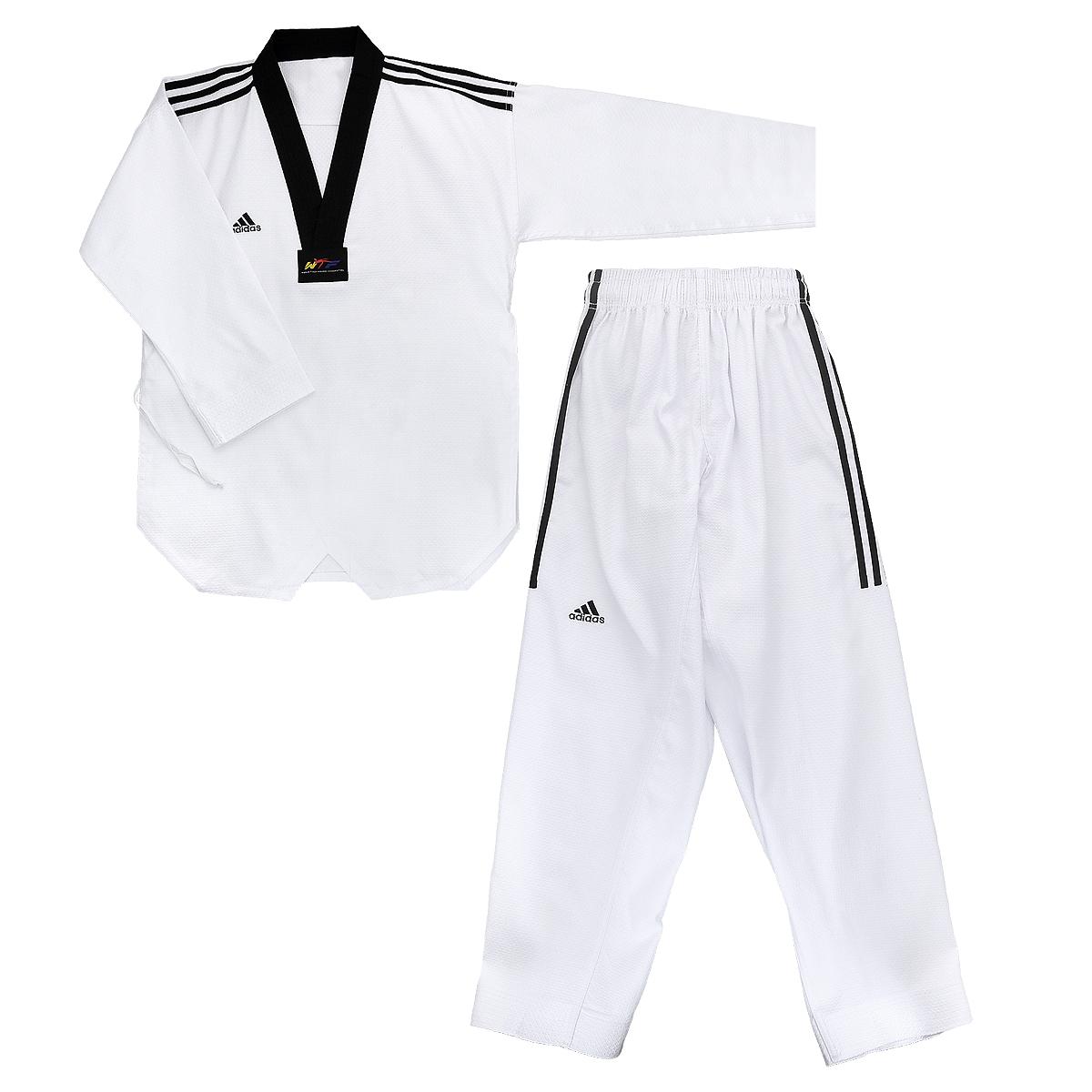 Кимоно для тхэквондо adidas Adi-GrandMaster 3, цвет: белый, черный. adiTGM01-WH/BK. Размер 170adiTGM01-WH/BKКимоно для тхэквондо adidas Adi-GrandMaster 3 состоит из рубашки и брюк. Просторная рубашка без пояса с V-образным вырезом горловин, боковыми разрезами и длинными рукавами изготовлена из плотного полиэстера с добавлением хлопка. Боковые швы, края рукавов и полочка укреплены дополнительными строчками. В области талии по спинке рубашка дополнена эластичной резинкой для регулирования ширины.Просторные брюки особого покроя имеют широкий эластичный пояс, регулируемый скрытым шнурком. Низ брючин с внутренней стороны укреплен дополнительными строчками.Кимоно рекомендуется для тренировок в зале.