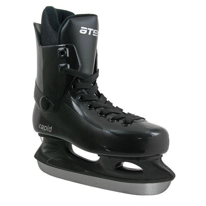 Atemi Rapid 2015Atemi Rapid 2015 BlackПрогулочные коньки для свободного катания на льду. Ботинок: морозоустойчивый ударопрочный пластик, мягкий внутренний сапожок из современного утеплителя. Колодка: специальная широкая для комфортной посадки ноги. Лезвие: углеродистая сталь.