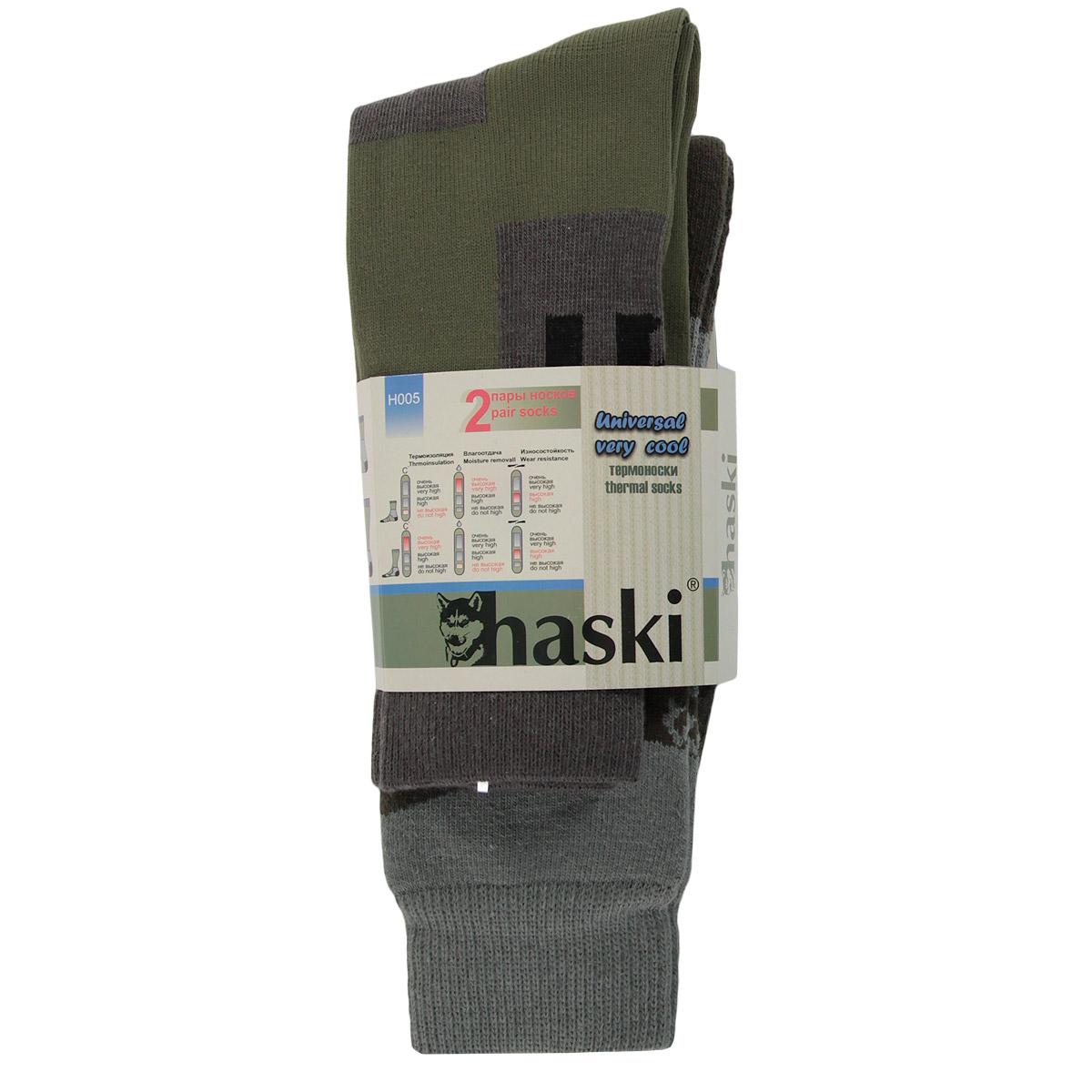 ТермоноскиН005Мужские термоноски Haski предназначены для носки длительное время в очень холодную погоду при высокой физической активности. Комплект состоит из двух моделей, одни из которых выполнены из полиамида, итальянской шерсти и лайкры, а другие из полиамида, шерсти мериносов и лайкры. Внутренний носок более тонкого плетения, в котором нога остается сухой при интенсивной ходьбе и беге, благодаря сочетанию высокотехнологичных влагоотводящих материалов. Внешний носок более толстого плетения сохраняет тепло, многозональная структура носка позволяет рационально распределять различные виды нитей для обеспечения максимального комфорта. Благодаря сочетанию двух моделей комплект функционален и удобен.