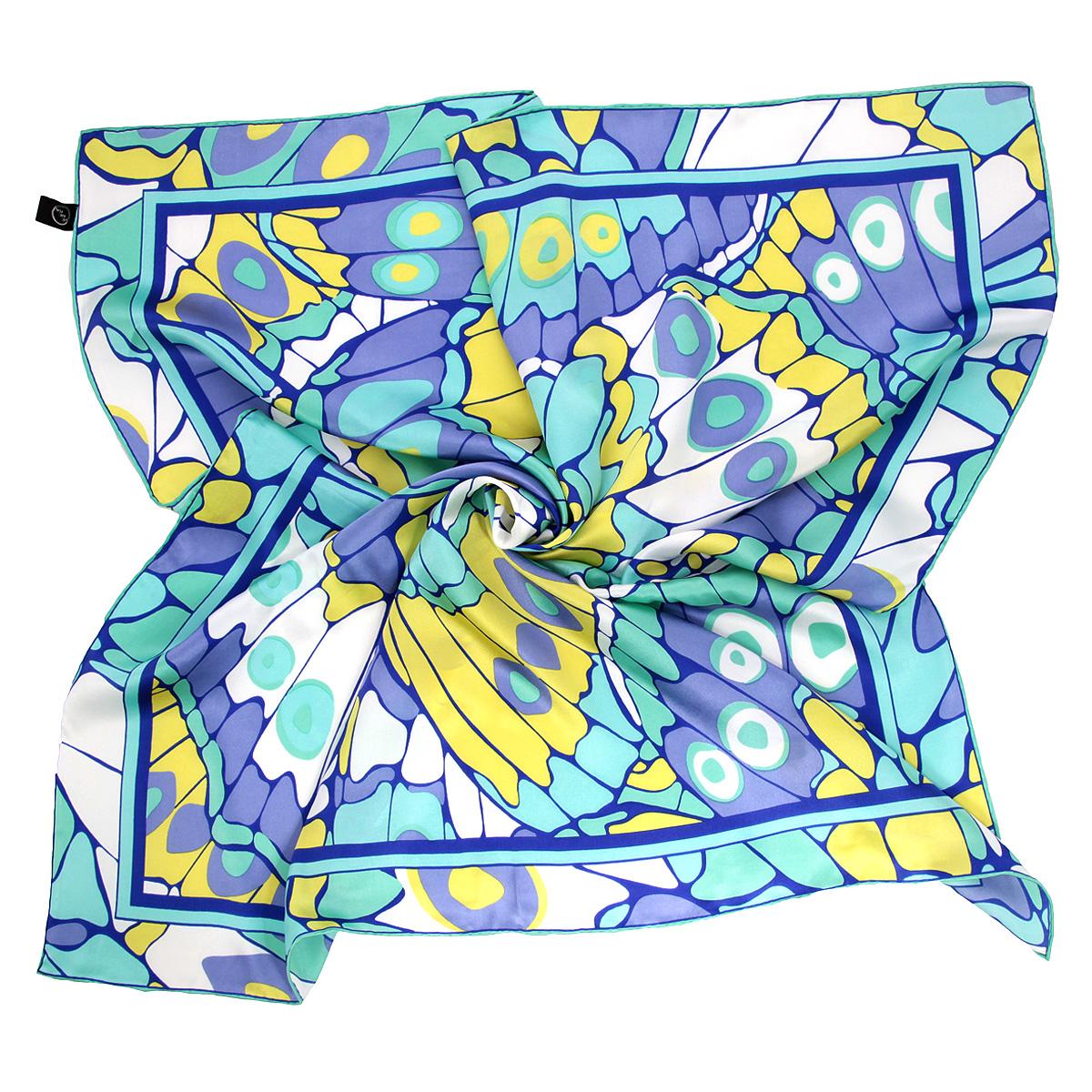 Платок женский Venera, цвет: бирюзовый, желтый, сиреневый. 1801629-10. Размер 90 см х 90 см1801629-10 ПлатокОчаровательный платок Venera подчеркнет ваш неповторимый образ. Изделие выполнено из натурального шелка и оформлено ярким орнаментом. Края платка обработаны вручную. Этот модный аксессуар женского гардероба гармонично дополнит образ современной женщины, следящей за своим имиджем и стремящейся всегда оставаться стильной и элегантной.