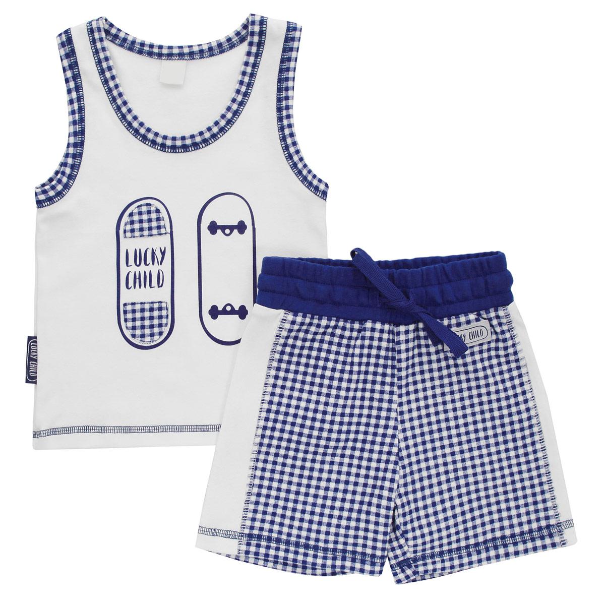Комплект одежды13-411Комплект для мальчика Lucky Child, состоящий из майки и шорт, идеально подойдет вашему ребенку. Изготовленный из натурального хлопка - интерлока, он необычайно мягкий и приятный на ощупь, не сковывает движения и позволяет коже дышать, не раздражает даже самую нежную и чувствительную кожу ребенка, обеспечивая ему наибольший комфорт. Майка с круглым вырезом горловины оформлена спереди оригинальной аппликацией и принтом с изображением скейтборда. Горловина и пройма рукавов оформлена принтом в клетку. Низ изделия оформлены контрастной фигурной прострочкой. Шортики на талии имеют широкую эластичную резинку со шнурком, благодаря чему они не сдавливают живот ребенка и не сползают. Оформлено изделие принтом в клетку и небольшой нашивкой с названием бренда. Оригинальный дизайн и расцветка делают этот комплект незаменимым предметом детского гардероба. В нем вашему маленькому мужчине будет комфортно и уютно, и он всегда будет в центре внимания!