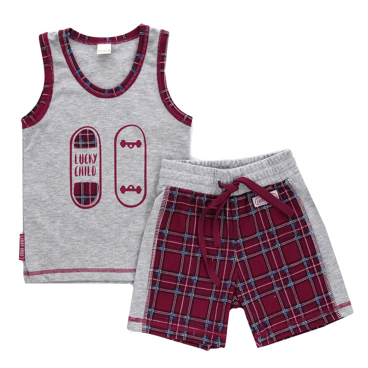 Комплект одежды13-410Комплект для мальчика Lucky Child, состоящий из майки и шорт, идеально подойдет вашему ребенку. Изготовленный из натурального хлопка - интерлока, он необычайно мягкий и приятный на ощупь, не сковывает движения и позволяет коже дышать, не раздражает даже самую нежную и чувствительную кожу ребенка, обеспечивая ему наибольший комфорт. Майка с круглым вырезом горловины оформлена спереди оригинальной аппликацией и принтом с изображением скейтборда. Горловина и пройма рукавов оформлены контрастными вставками, оформленными принтом в клетку. Низ изделия оформлен контрастной фигурной прострочкой. Шортики на талии имеют широкую эластичную резинку со шнурком, благодаря чему они не сдавливают живот ребенка и не сползают. Оформлено изделие принтом в клетку и украшено небольшой нашивкой с названием бренда. Оригинальный дизайн и расцветка делают этот комплект незаменимым предметом детского гардероба. В нем вашему маленькому мужчине будет комфортно и уютно, и он всегда будет в...