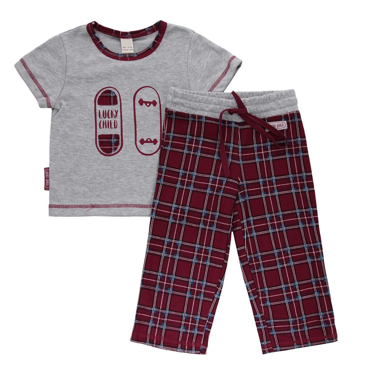 Пижама13-402Очаровательная пижама для мальчика Lucky Child, состоящая из футболки и брюк, идеально подойдет вашему малышу и станет отличным дополнением к детскому гардеробу. Изготовленная из натурального хлопка - интерлока, она необычайно мягкая и приятная на ощупь, не раздражает нежную кожу ребенка и хорошо вентилируется, а эластичные швы приятны телу малыша и не препятствуют его движениям. Футболка с короткими рукавами и круглым вырезом горловины оформлена спереди оригинальной аппликацией и принтом с изображением скейтборда. Вырез горловины дополнен контрастной бейкой, оформленной принтом в клетку. Низ рукавов и низ модели украшены контрастной фигурной прострочкой. Брюки прямого кроя на талии имеют широкий эластичный пояс со шнурком, благодаря чему они не сдавливают животик ребенка и не сползают. Оформлены брюки принтом в клетку и украшены небольшой нашивкой с названием бренда. Такая пижама идеально подойдет вашему малышу, а мягкие полотна позволят маленькому непоседе...